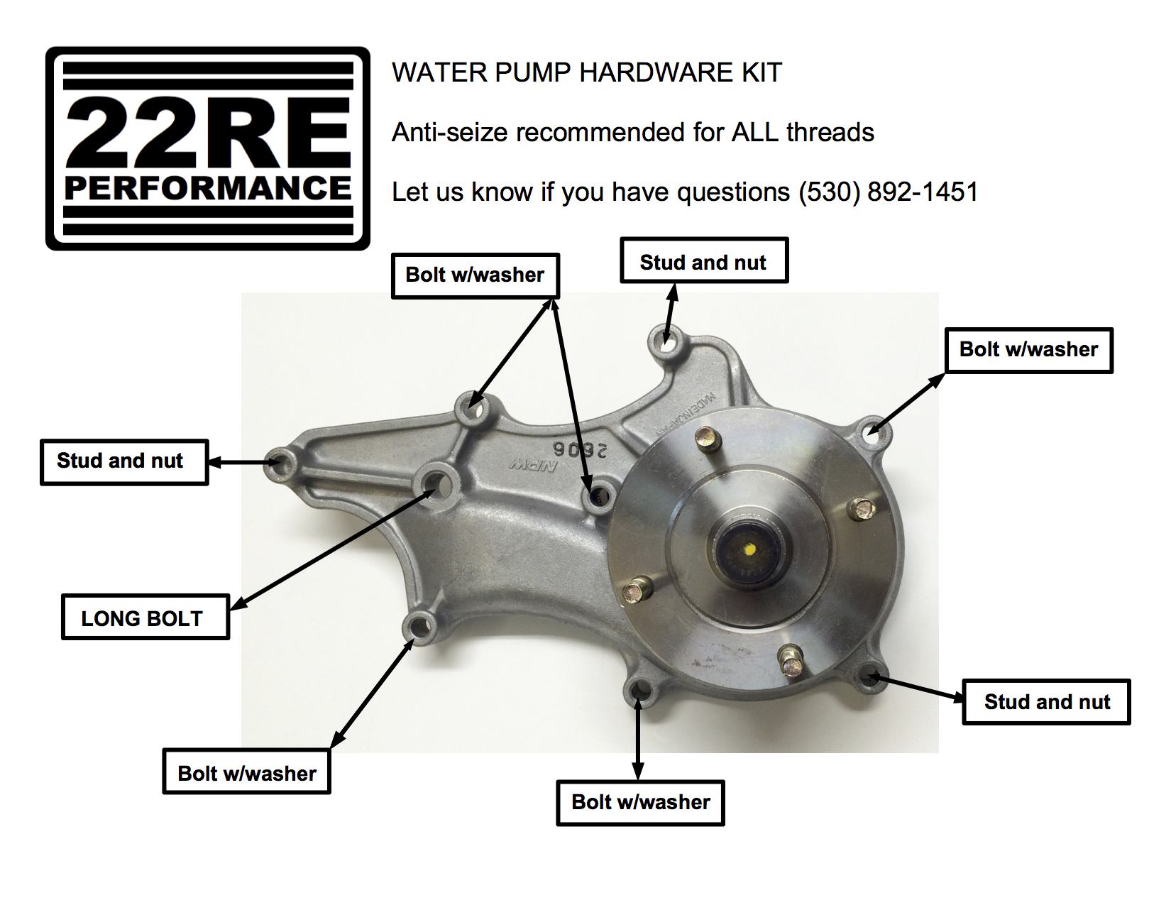 water pump hardware kit — 22RE Performance