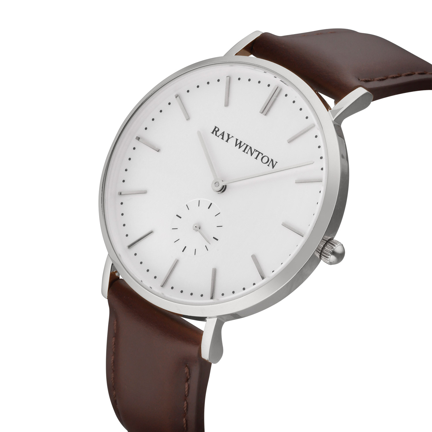 Ray Winton Analog White Dial Genuine Brown Leather Watch Ray Winton