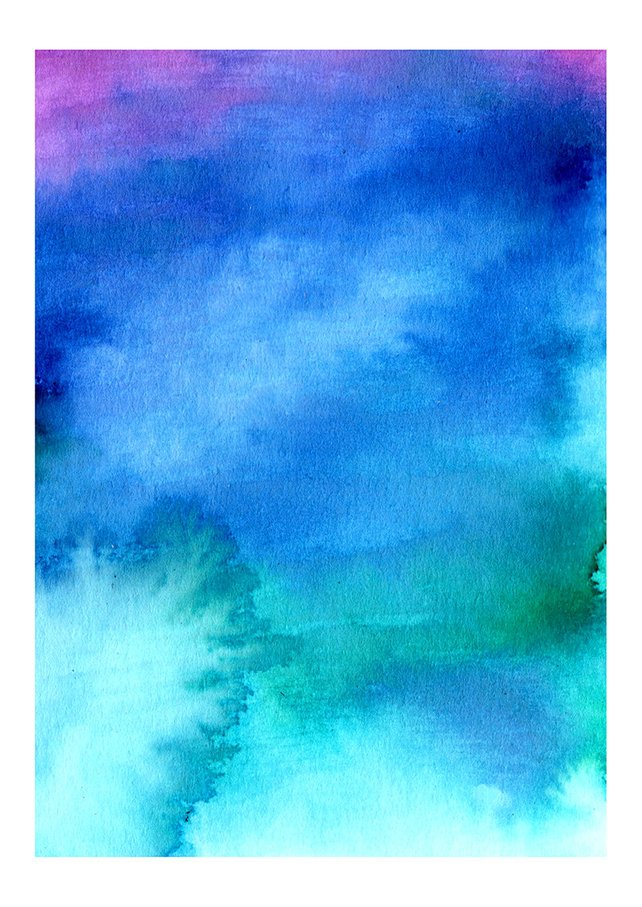 Abstract Watercolour Art Print In Blue And Green Drawn Together Art Collective Art Prints London