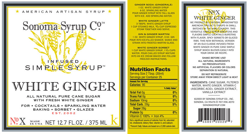 Sonoma Syrup: White Ginger Infused Syrup — Citrus On Main