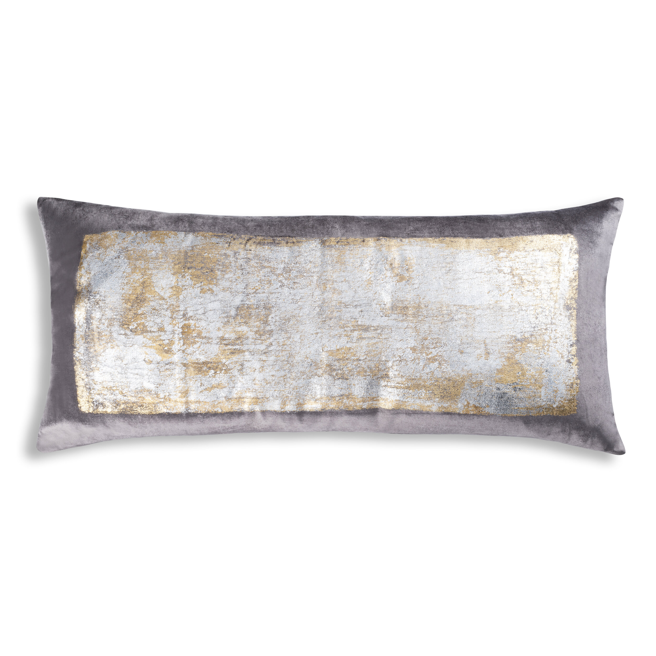 Verona Lumbar Pillow Gold Threads Stone Marie Burgos Collection Modern Furniture Home Décor