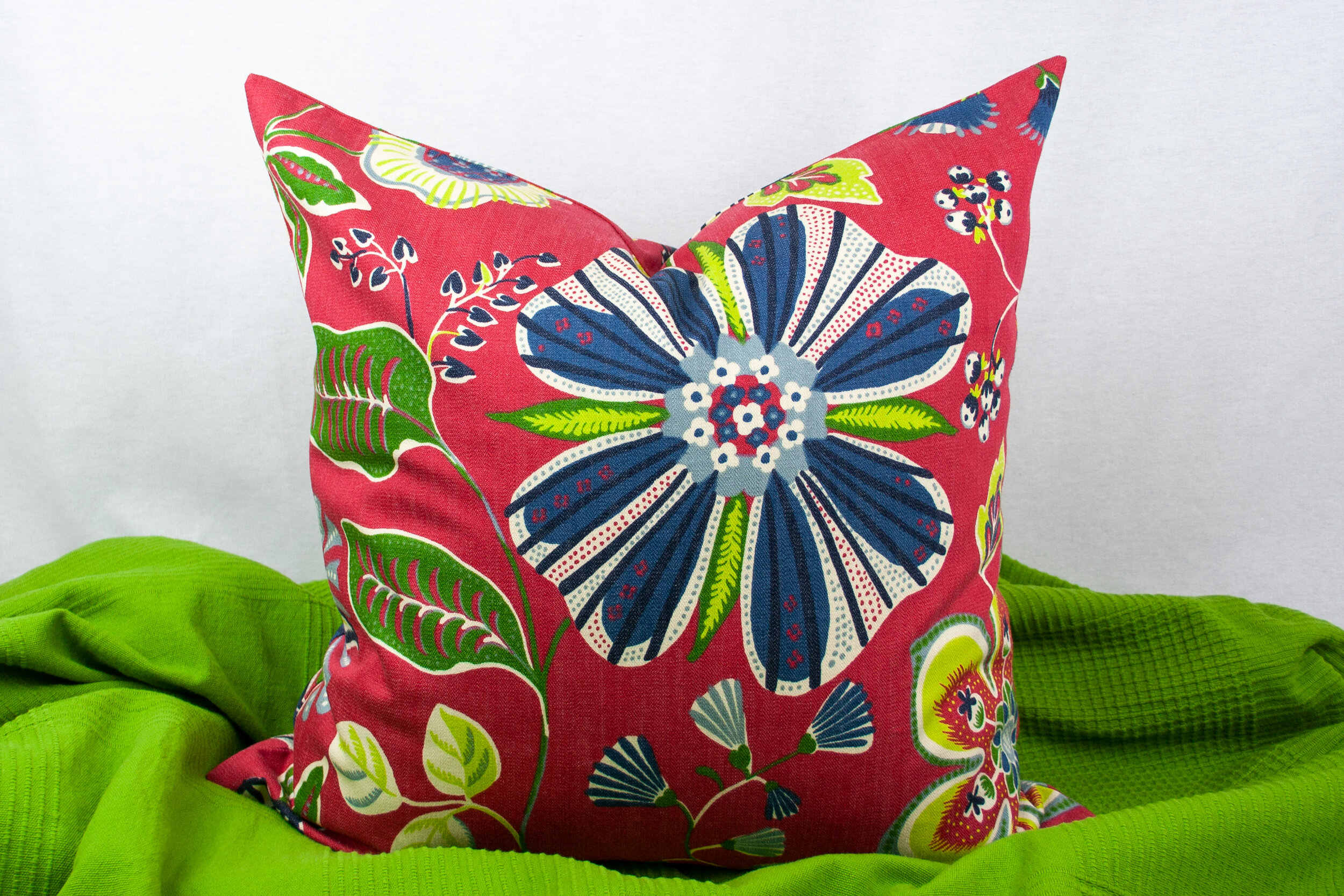 20 X 20 Inch Red Navy Blue And Green Floral Pillow Cover Sew