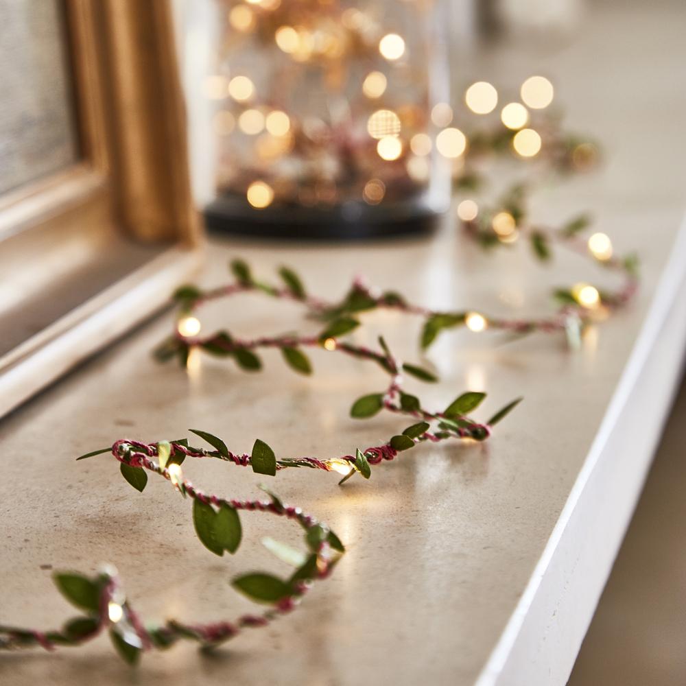 string lights indoor green leaves