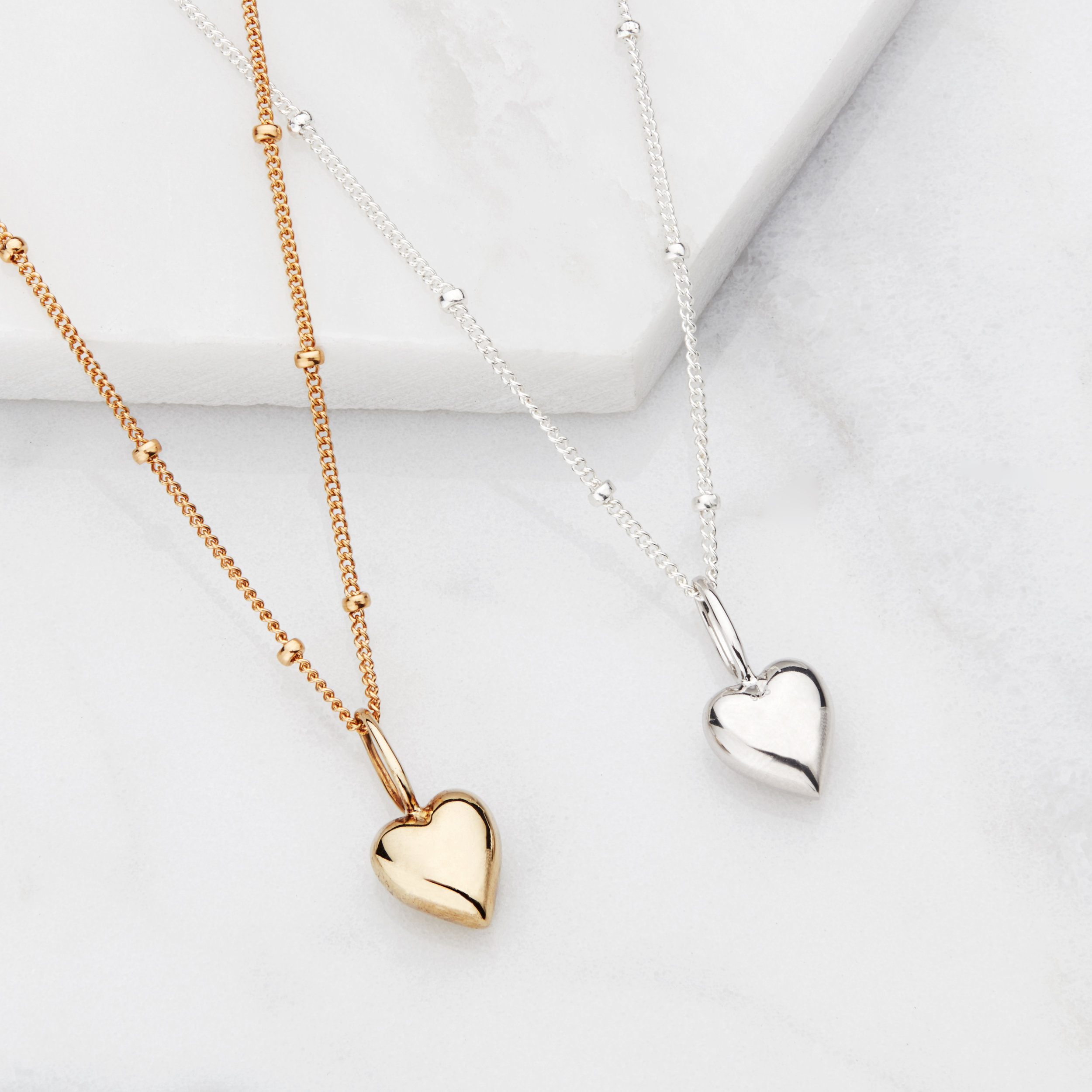 Heart Necklace Heart Pendant 18k Gold Plated over Sterling Silver