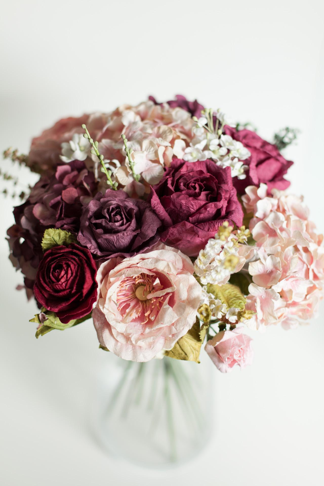 Posy Pot Paper Flower Sweet Dark Pink Bouquet
