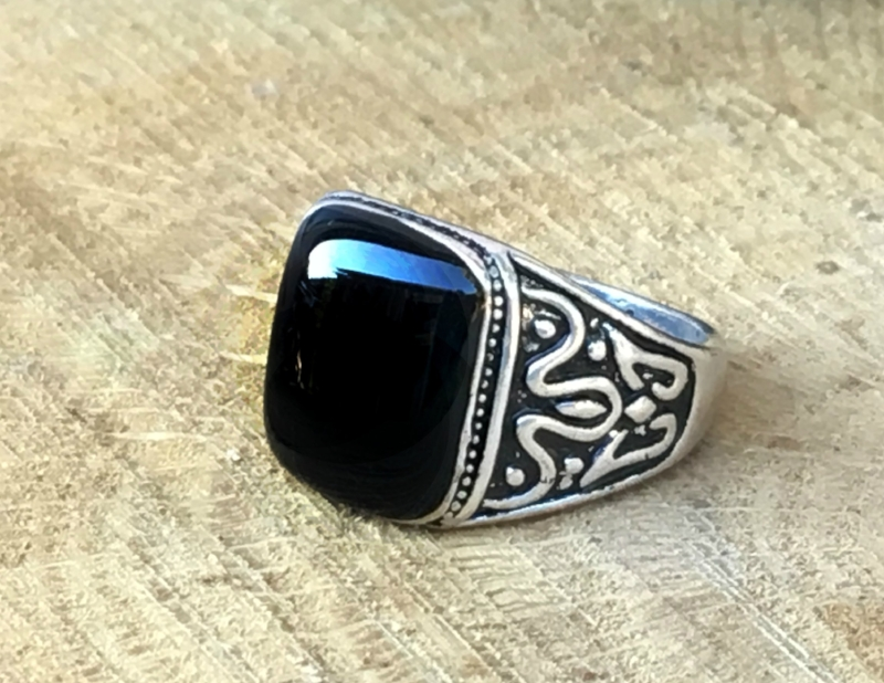 af90893248c0e Natural Healing Gems -Men's Black Tourmaline Gemstone Ring 9, 11.5 - Mighty  Protector Natural healing gems
