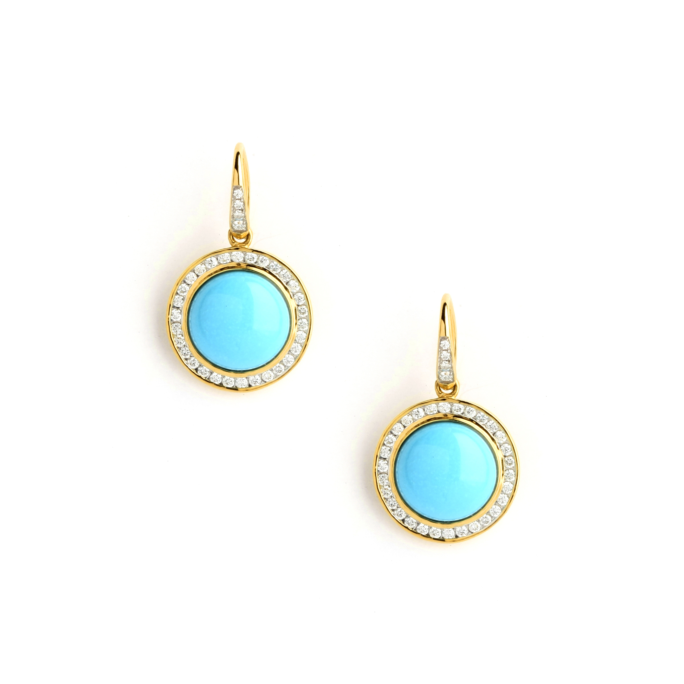 Sleeping Beauty Turquoise Diamond Earrings Syna Jewels