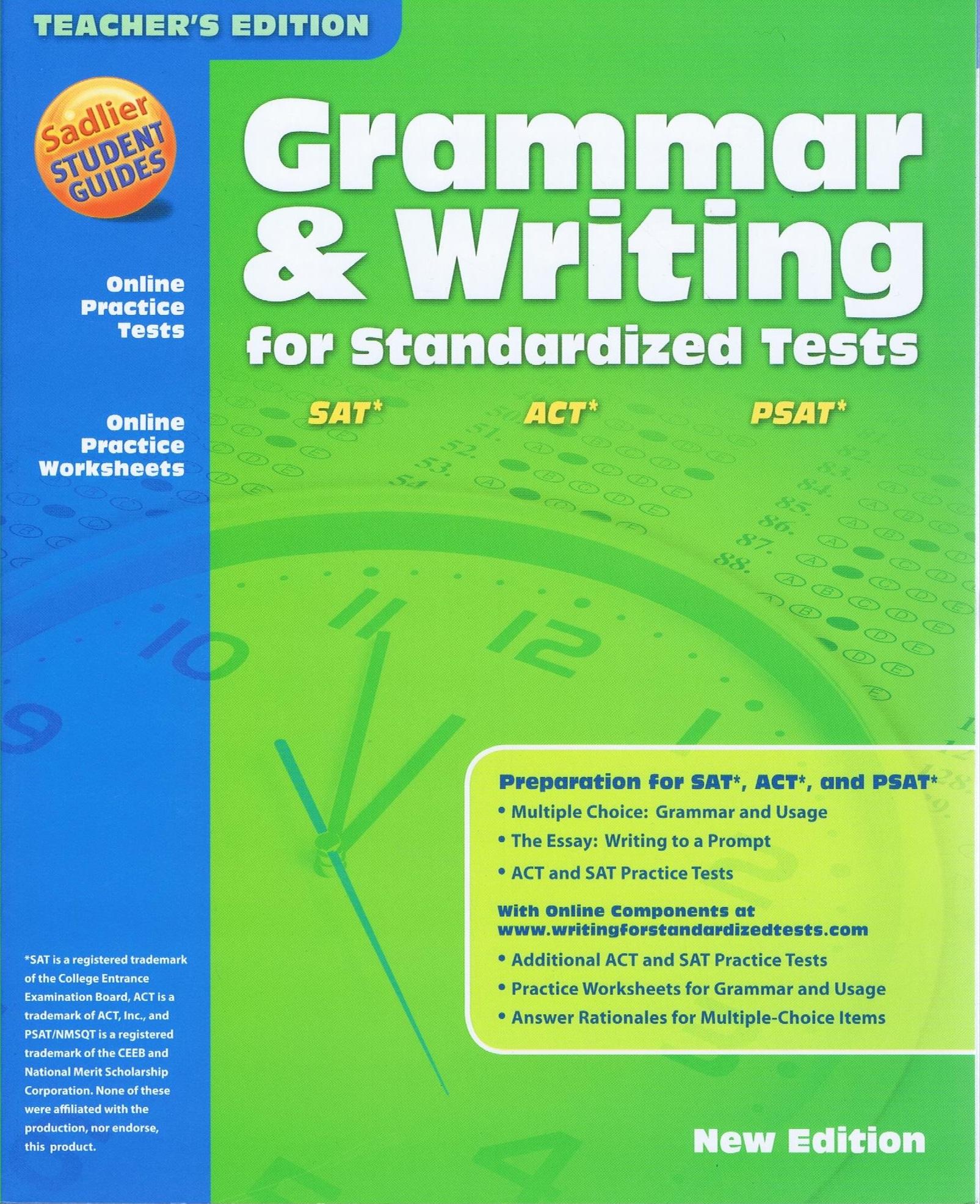 Sadlier Grammar & Writing for Standardized Tests SAT/ACT/PSAT — Teacher's  Choice