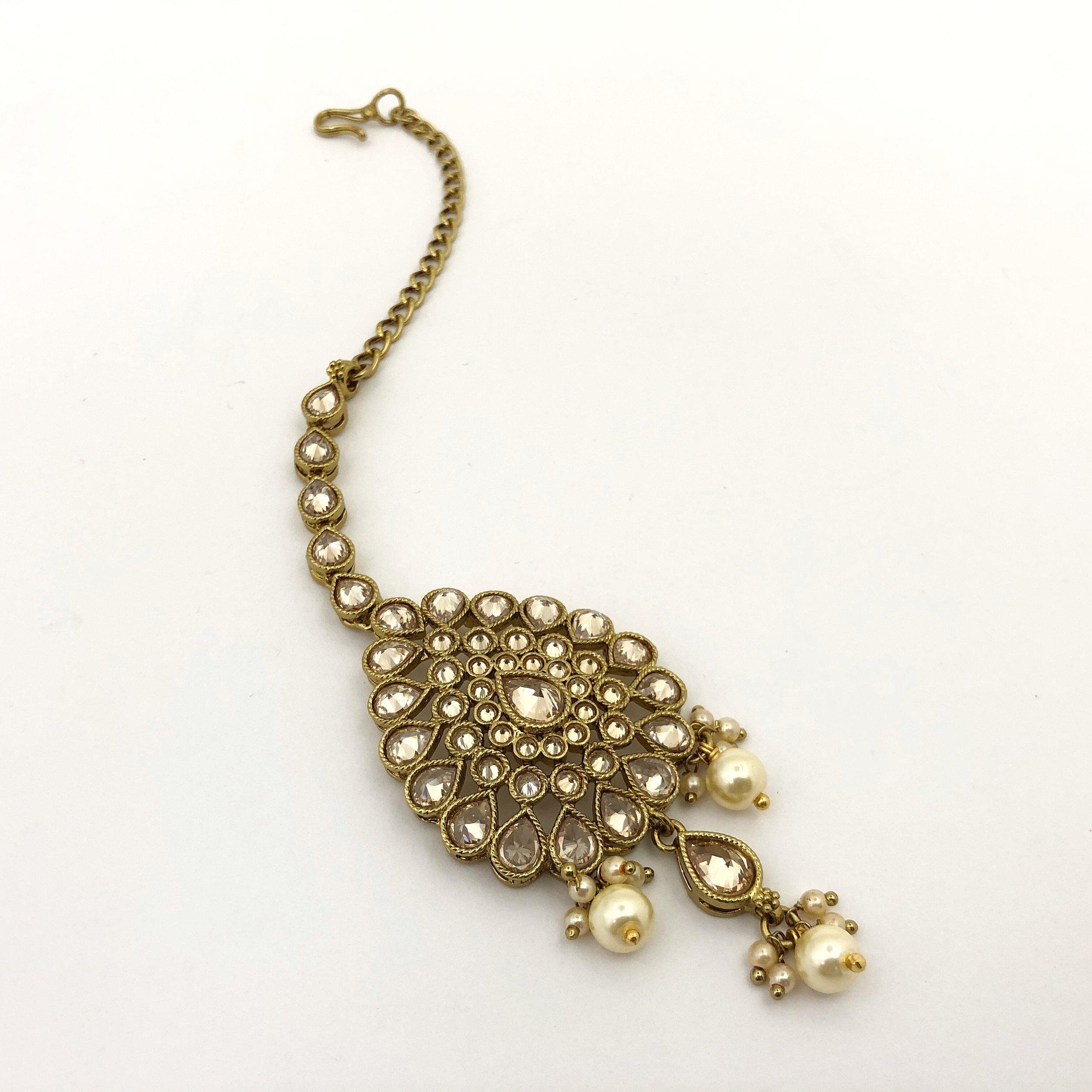 Pear Drop Tikka Headpiece Bees Indian Bridal Jewellery Uk