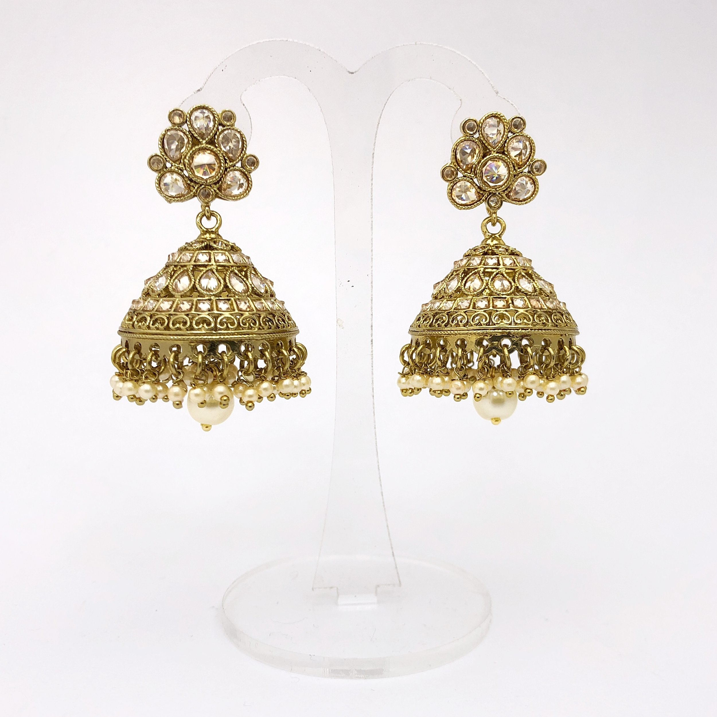Antique Gold Jhumka Earrings Bees