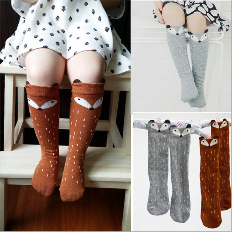 Toddler Socks Baby Socks CartoonFox Socks Knee High 1-3 Years Old Cute Fox Print