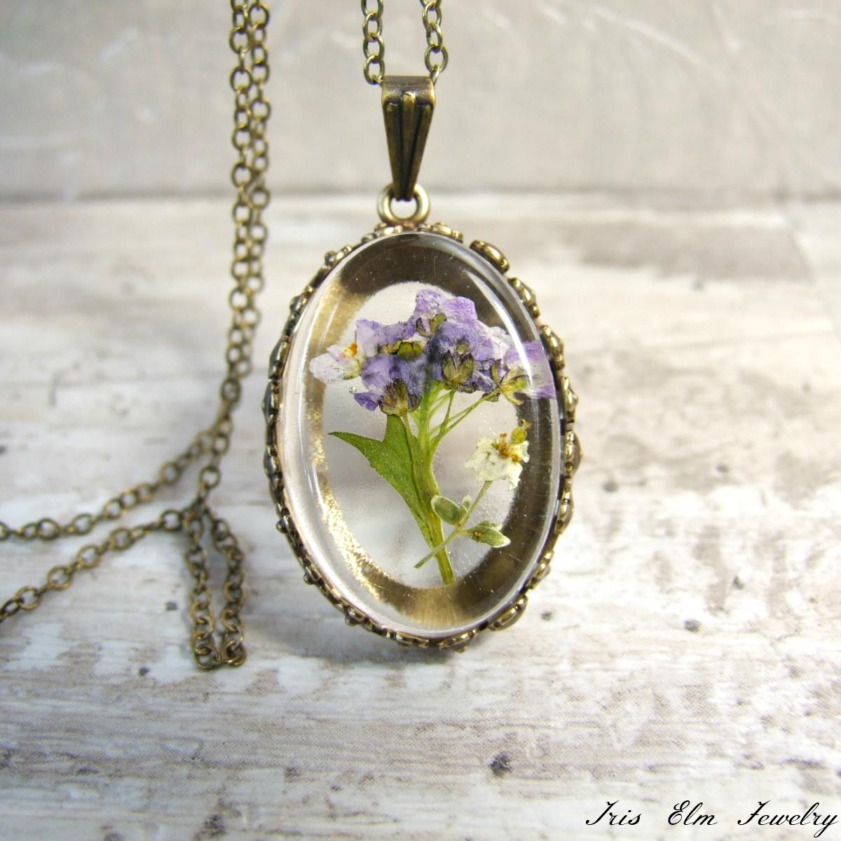 Antique Brass Purple Flower Necklace Iris Elm Jewelry Unique