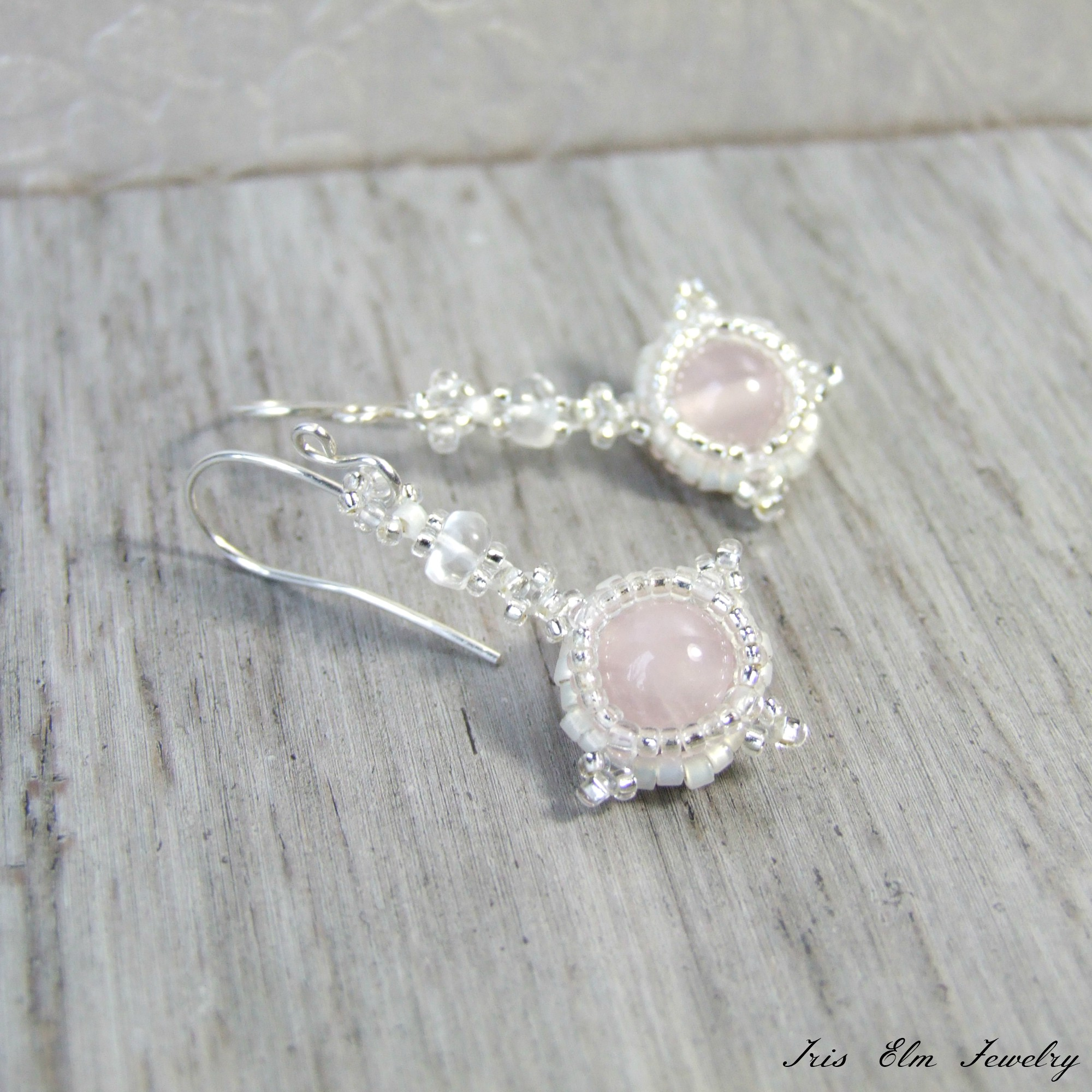 Vintage Style Sterling Silver Real Pale Pink Rose Quartz Gem Stone Drop EARRINGS