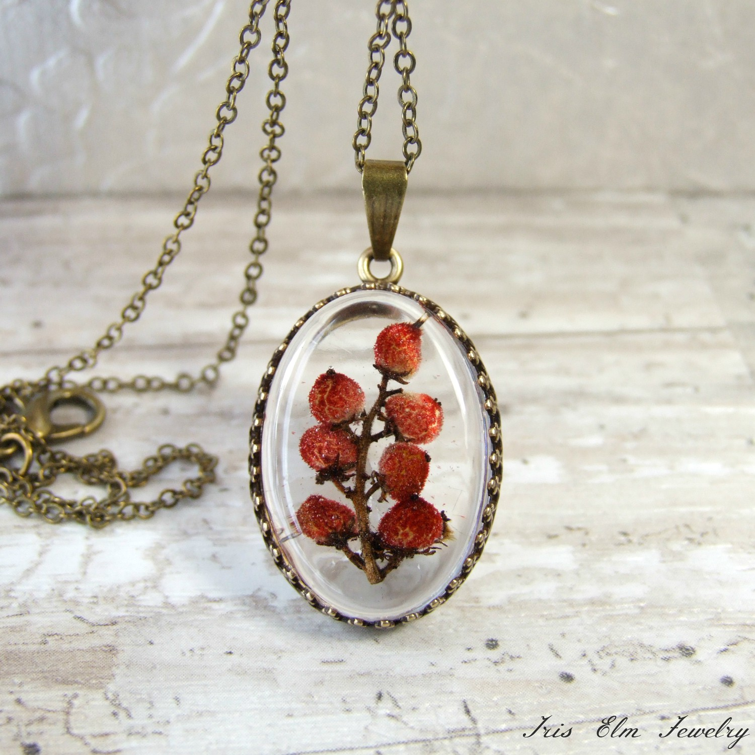 红Sumac Berries Resin Pendant Necklace