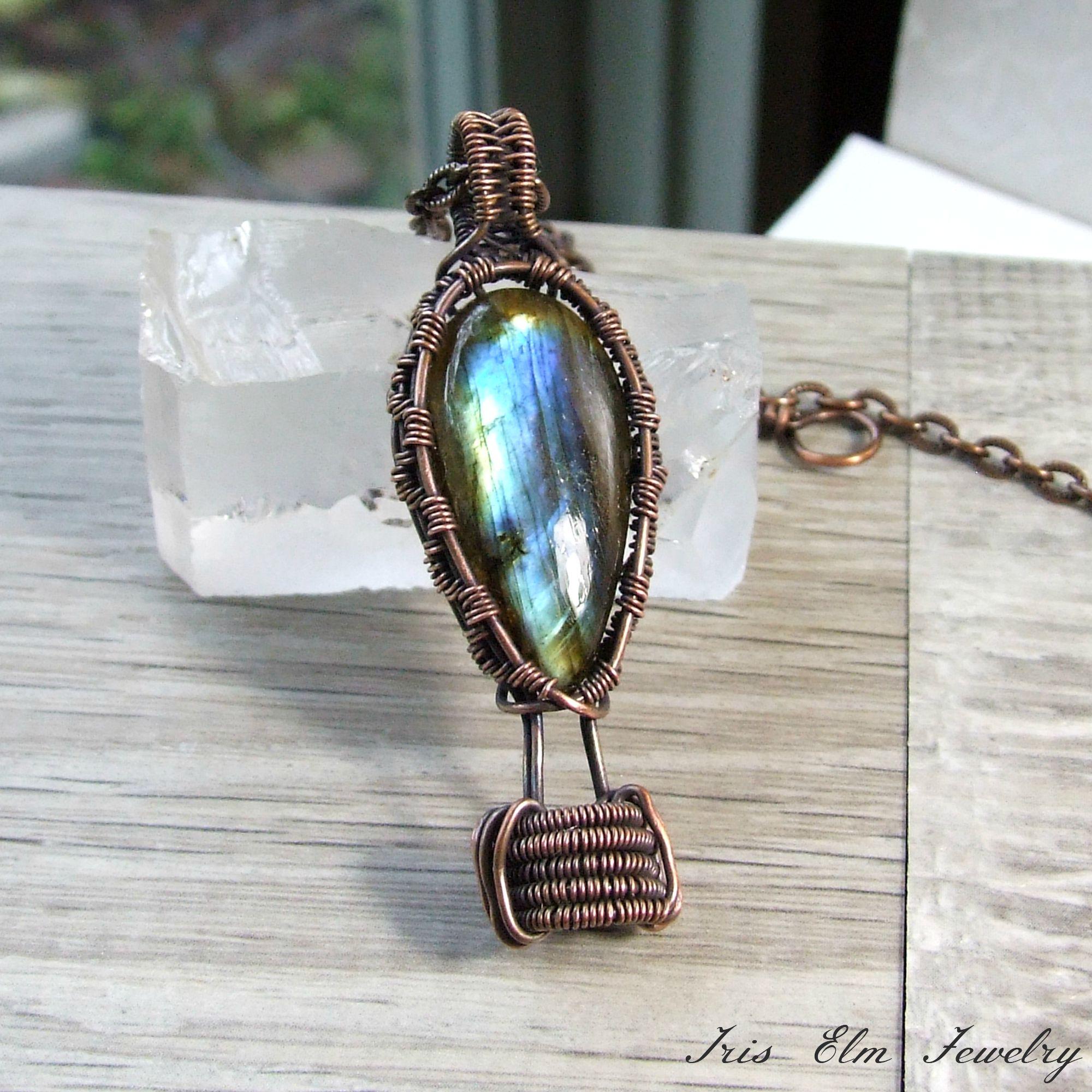 Hot Air Balloon Labradorite Wire Woven Copper Pendant Necklace