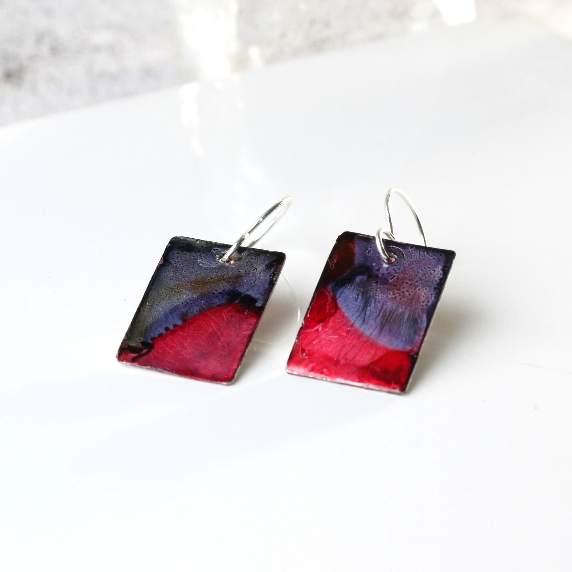 红& 紫色Alcohol Ink Metal Dangle  耳环