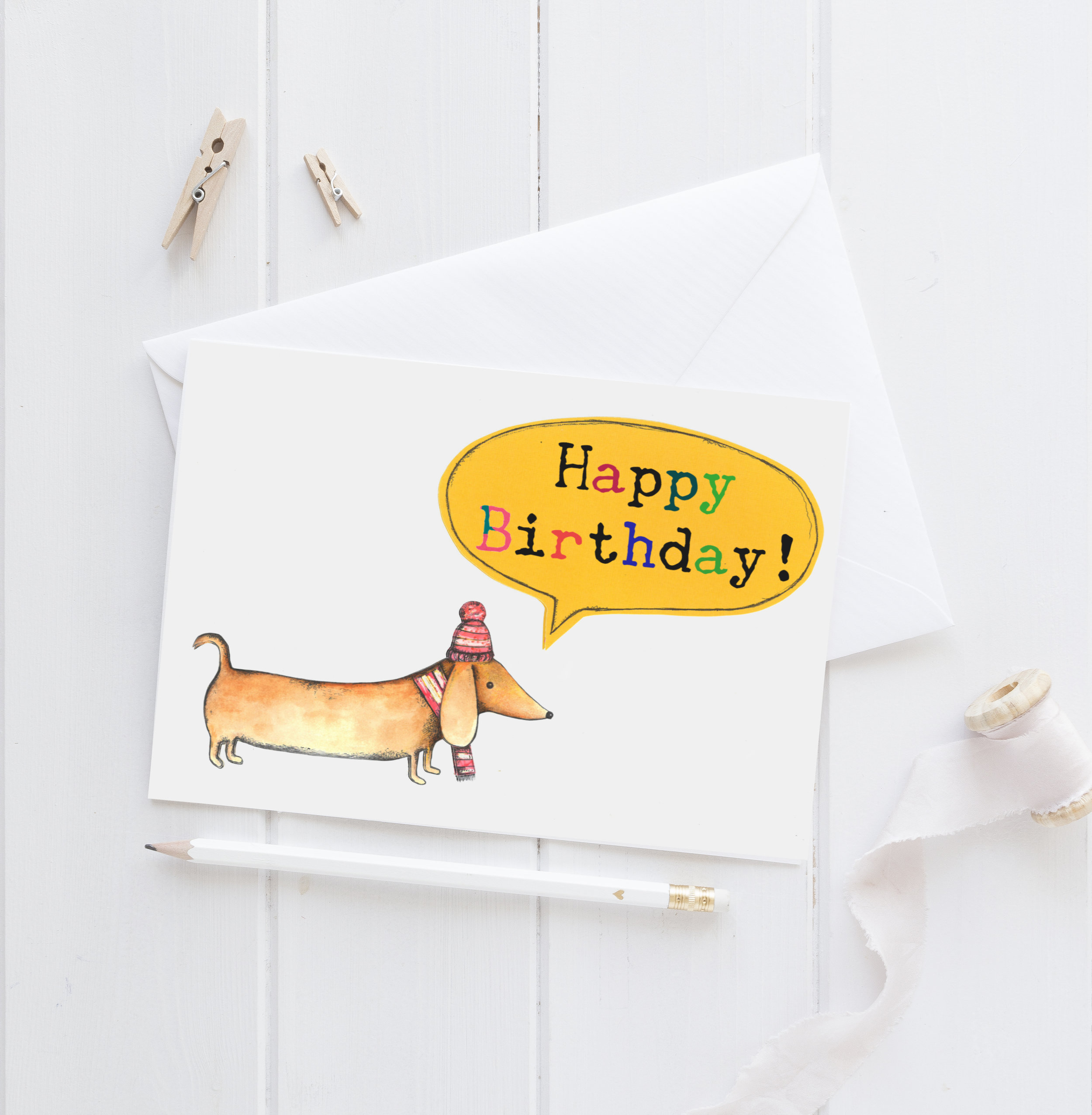 Any Occasion Birthday Dachshund Dogs Blank Greeting Card Here Come The Girls