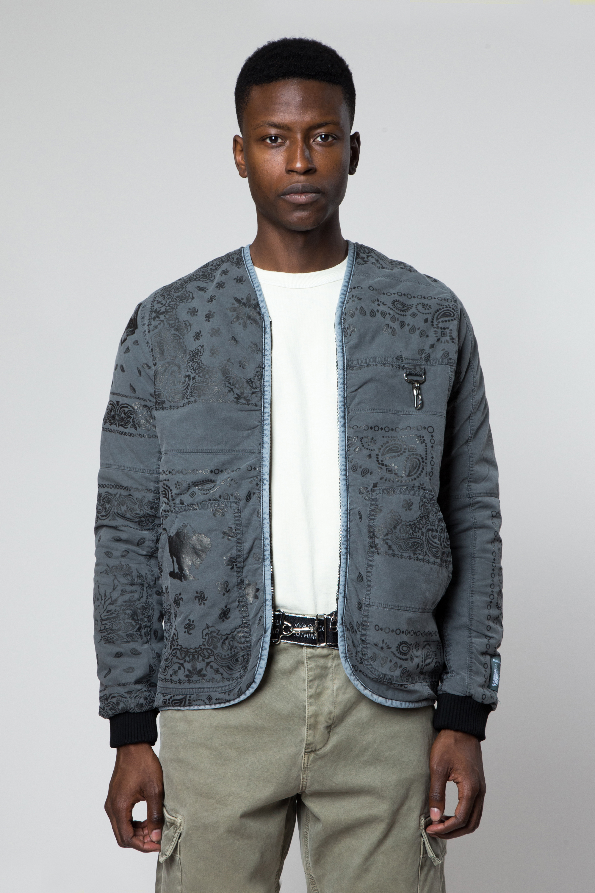 Cotton Bandana Parka Liner in Washed Grey — REESE COOPER®