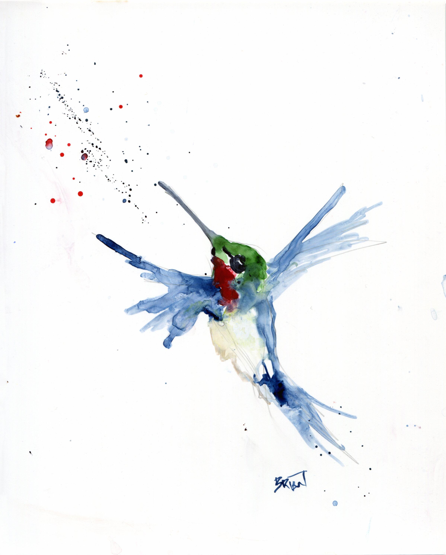 Hummingbird in Flight - Original Watercolor Painting on YUPO - Matted —  Brian D. Payne Studio