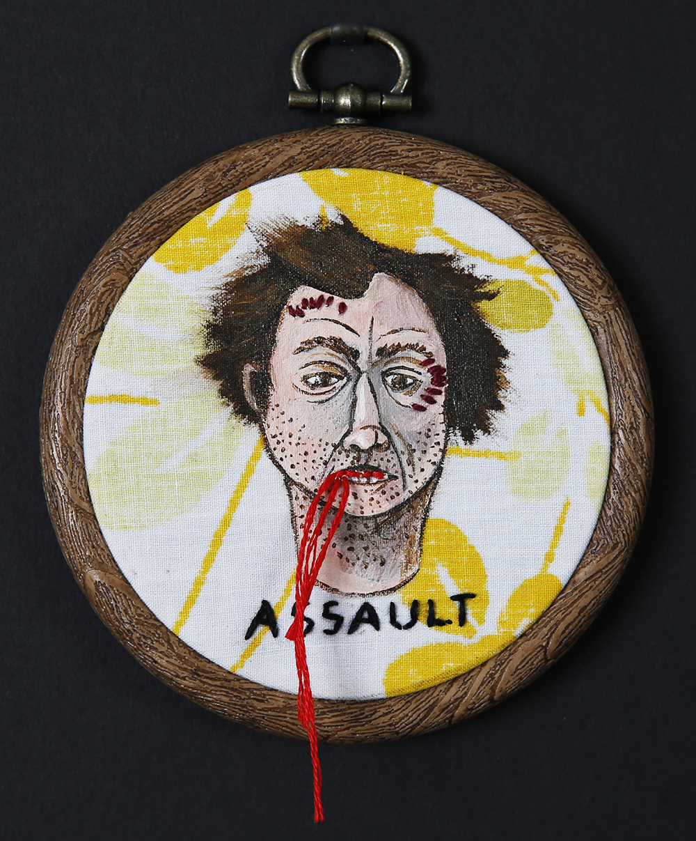 Assault - Busted Mugshot Artwork by Ashley Anson