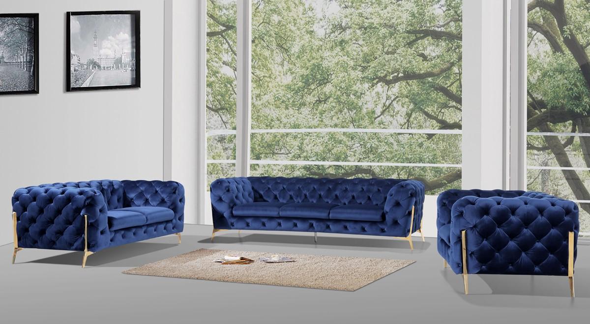 Dark Blue Fabric Sofa Set — DecoDesign Furniture   Furniture Store   Miami  Fl   Wholesale Prices