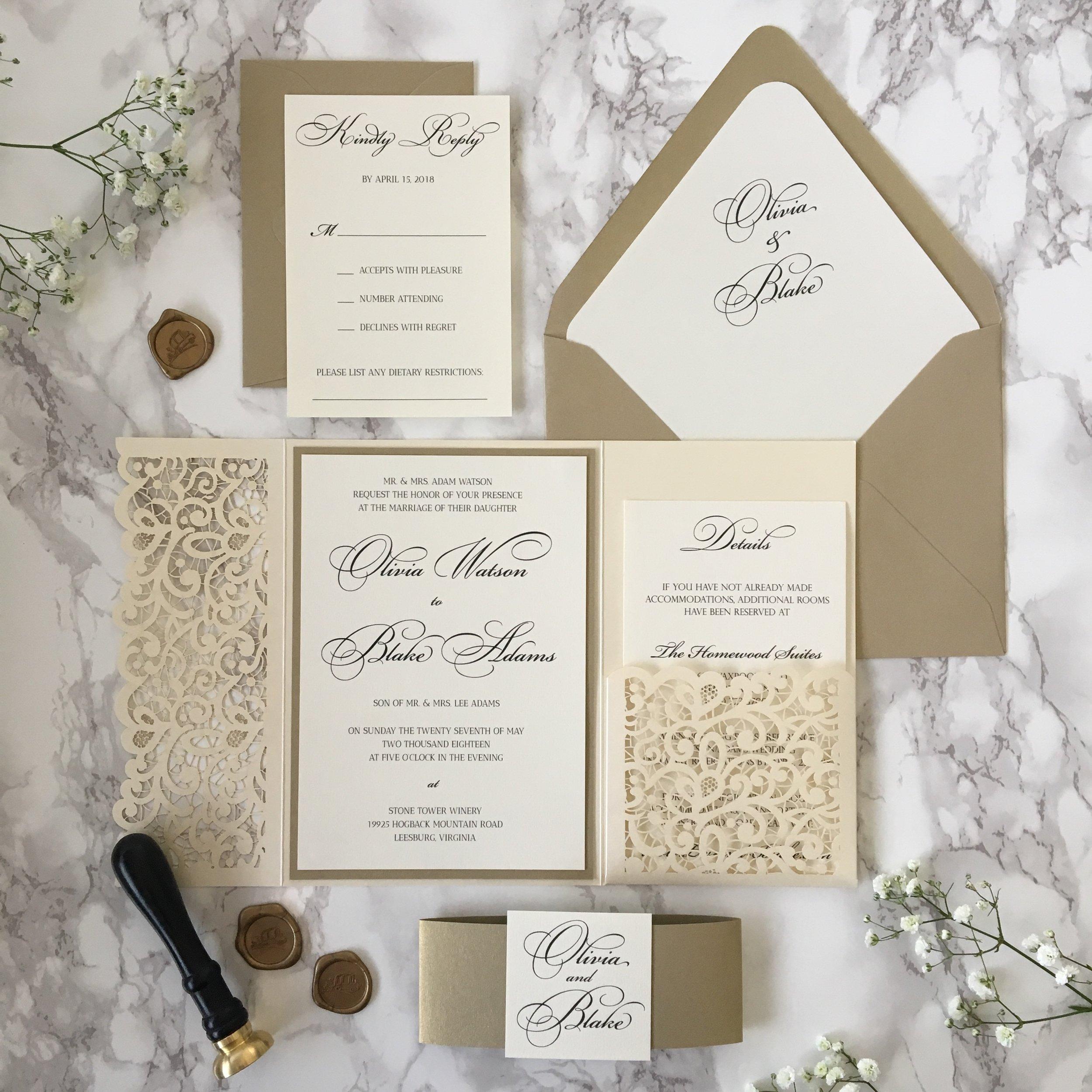 Opal And Gold Leaf Laser Cut Pocket Wedding Invitation Cz Invitations