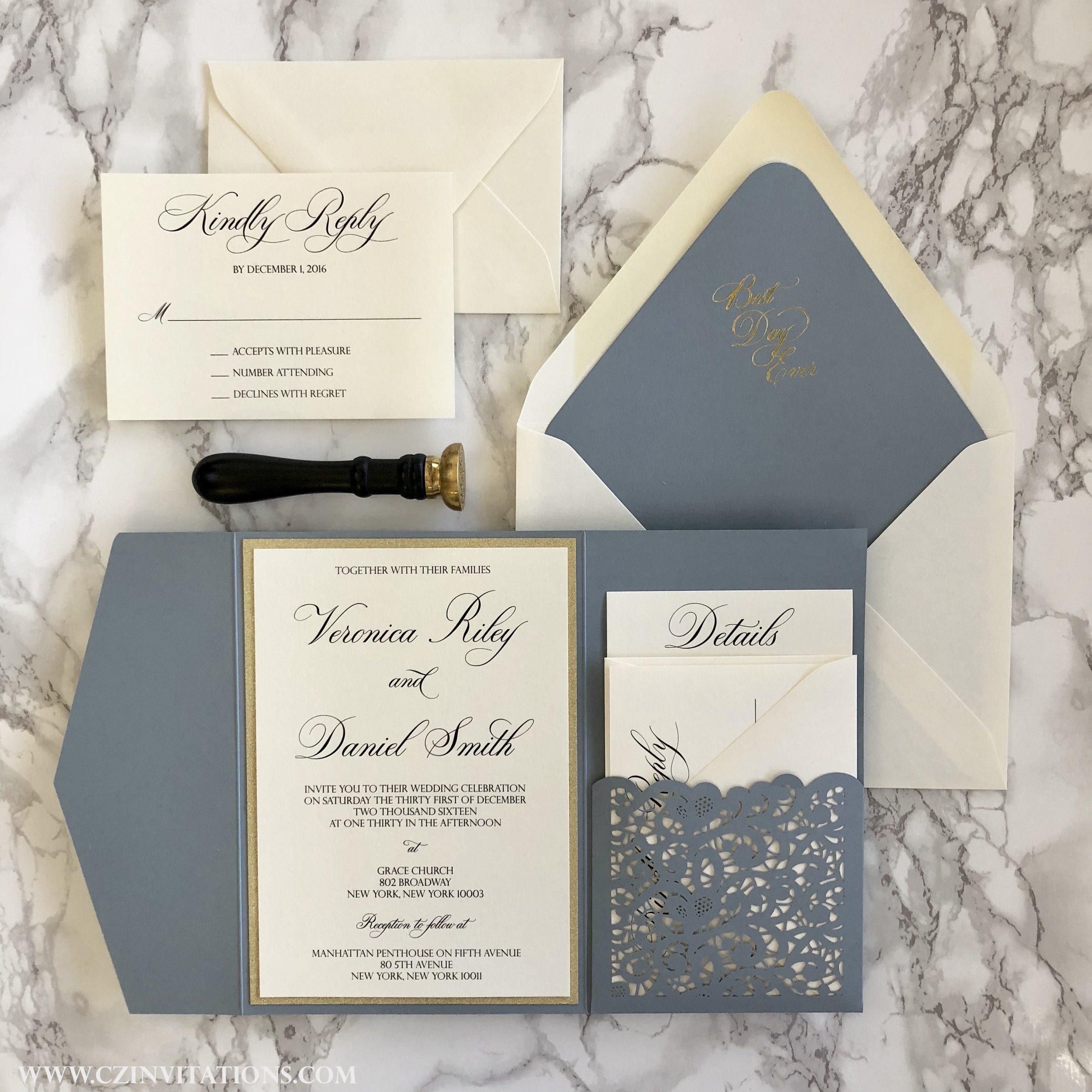 Dusty Blue Laser Cut Pocket Wedding Invitation in Silver or Gold Glitter —  CZ INVITATIONS