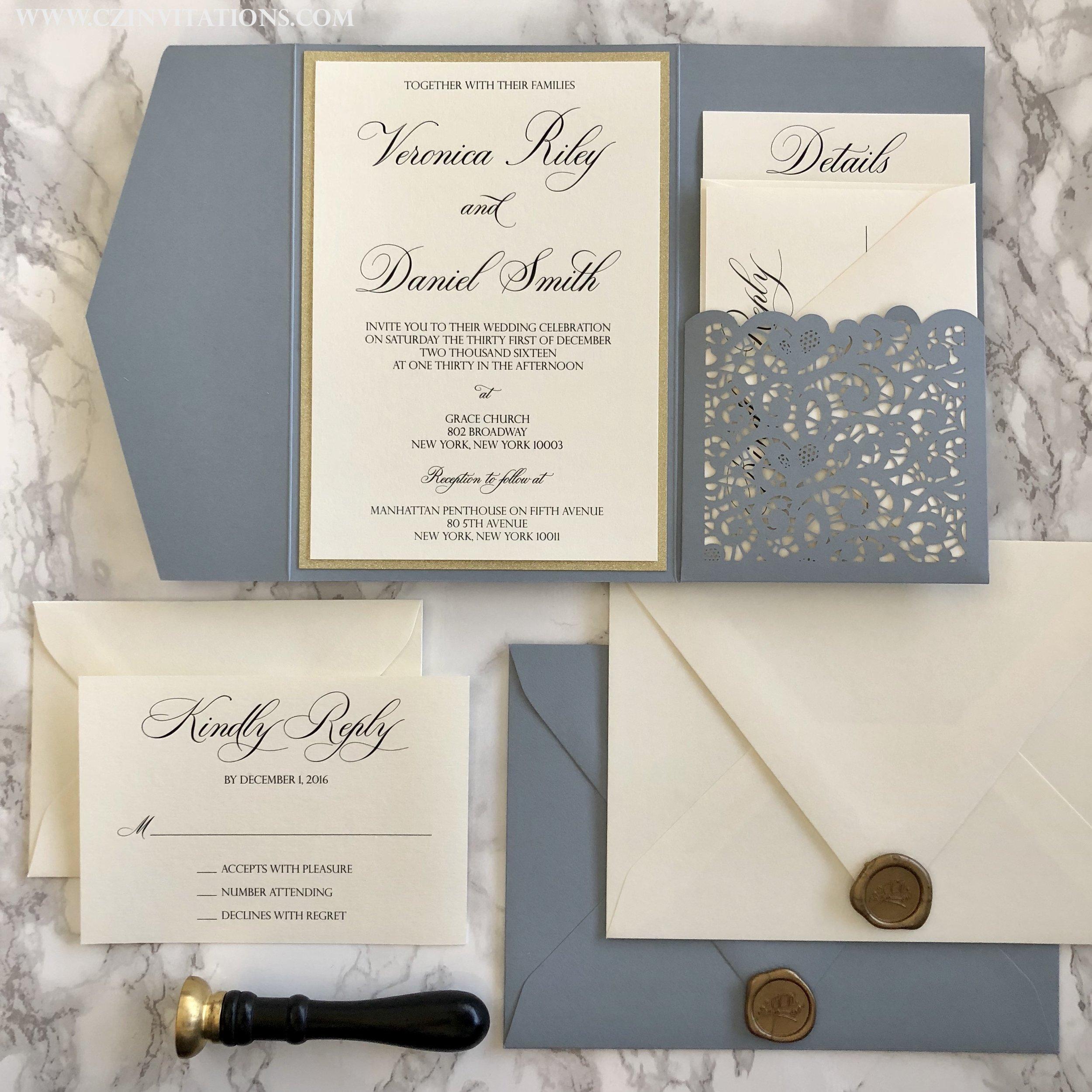 Dusty Blue Laser Cut Pocket Wedding Invitation In Silver Or Gold Glitter Cz Invitations