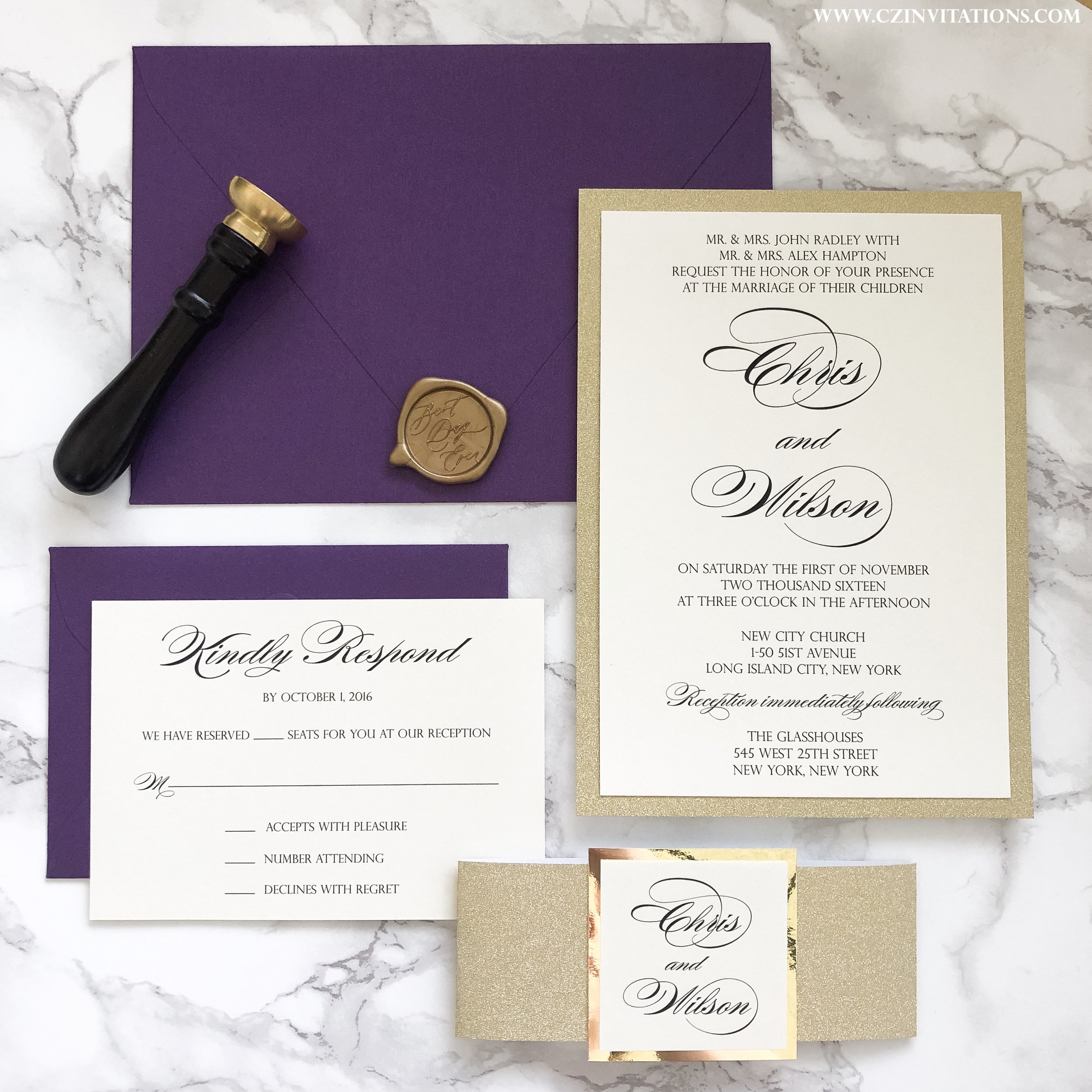 Gold Glitter Wedding Invitation With