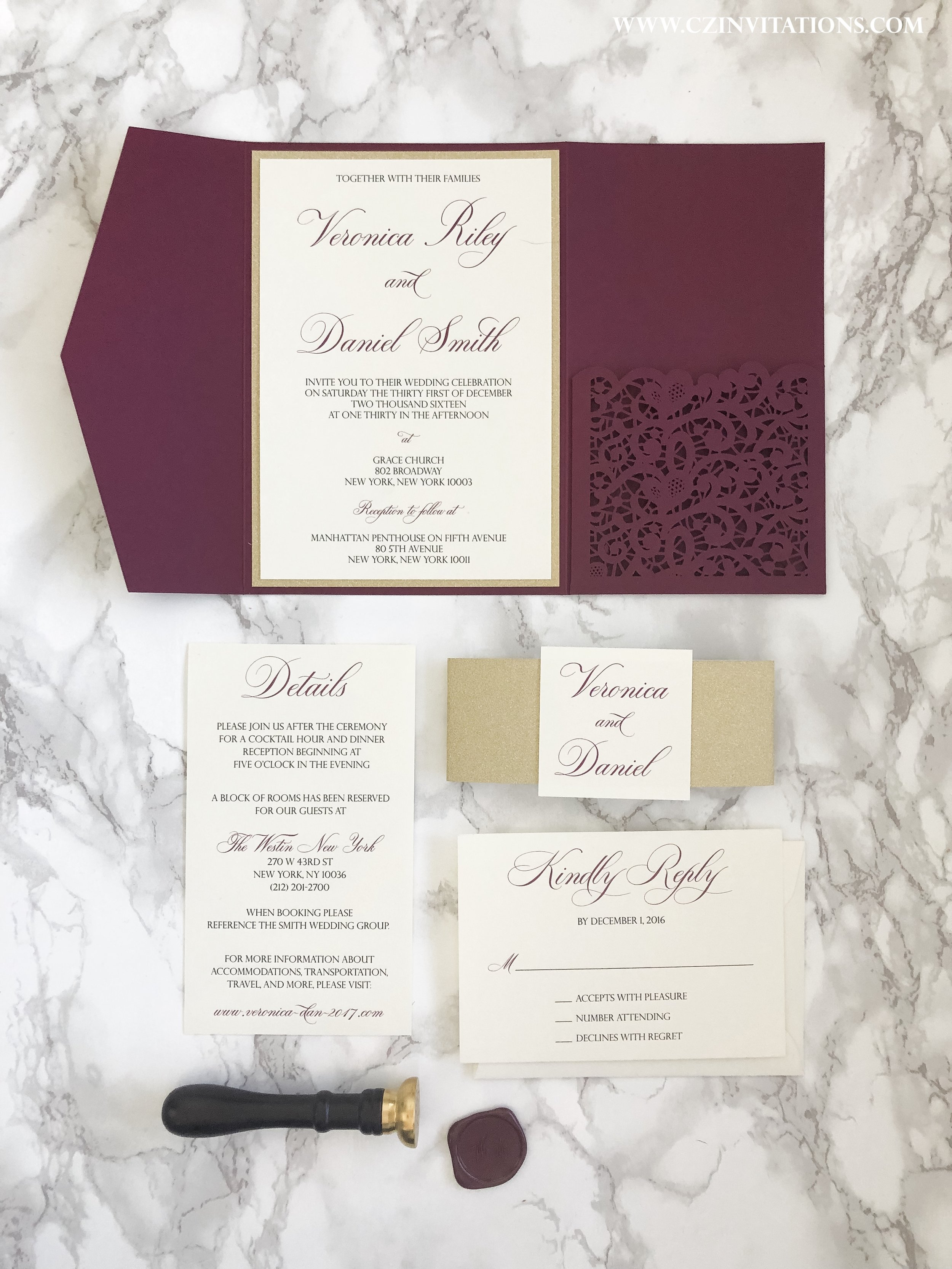 Burgundy And Gold Laser Cut Pocket Wedding Invitation Cz Invitations