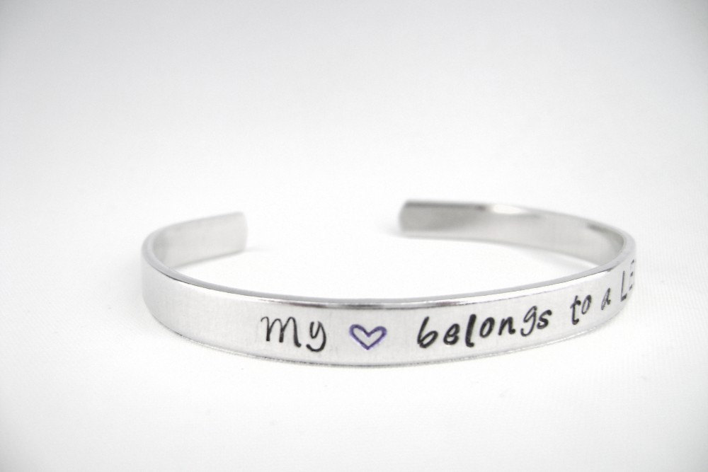 Police Wife Bracelet Hand Stamped My Heart Belongs To A Leo Route 22 Designs Personalized Jewelry And Baptism Gifts