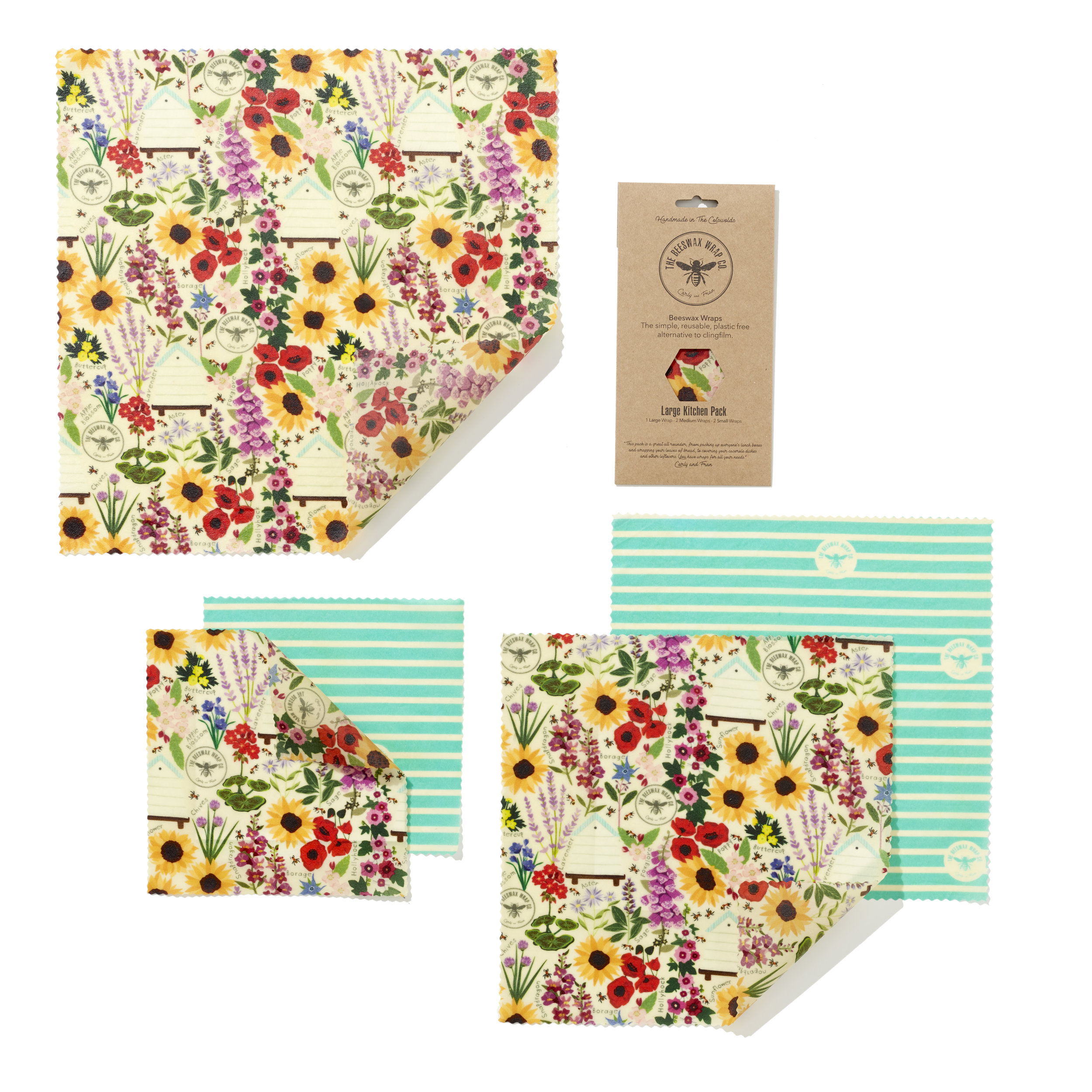 Large Kitchen Pack — Beeswax Wraps - Plastic Free Living | The Beeswax  Wraps Co
