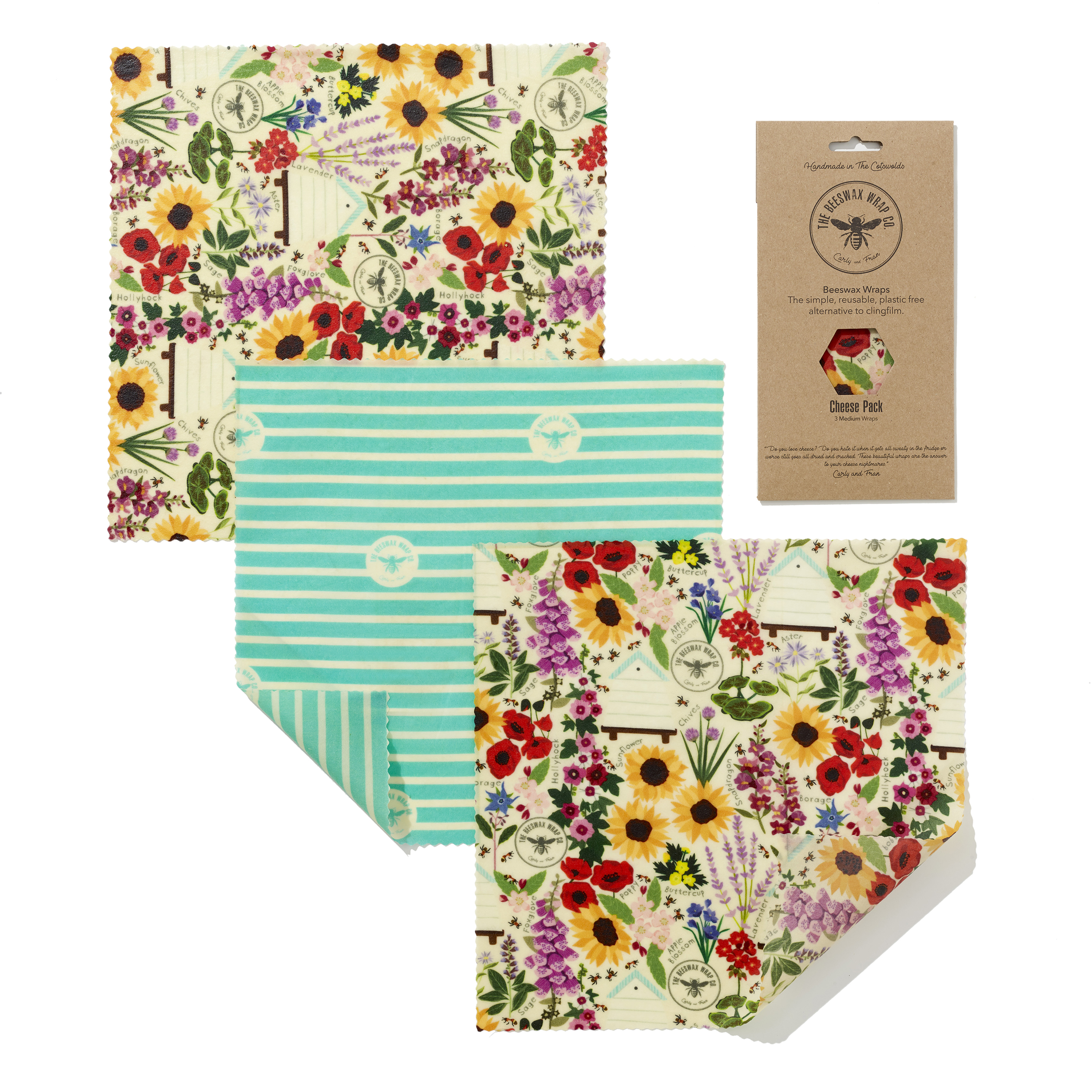 Cheese Pack - 3 Mediums — Beeswax Wraps - Plastic Free Living | The Beeswax  Wraps Co