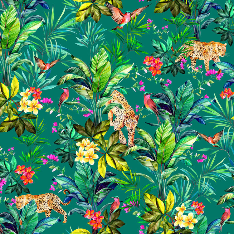 Keep It Tropical Jungle Fever In Jade Wallpaper 130cm Wide Contemporary Design Home Accessories Sarah Fortescue