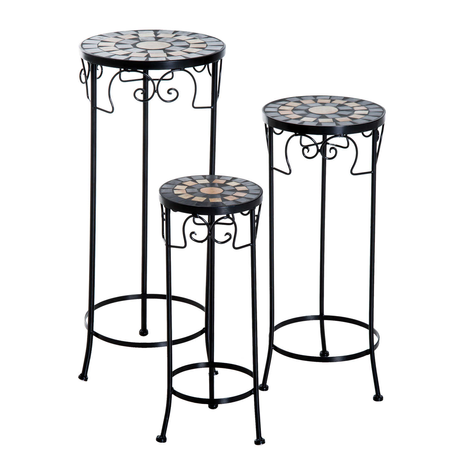 Outsunny Set of 3 Pcs Plant Stand-Black — MH Star