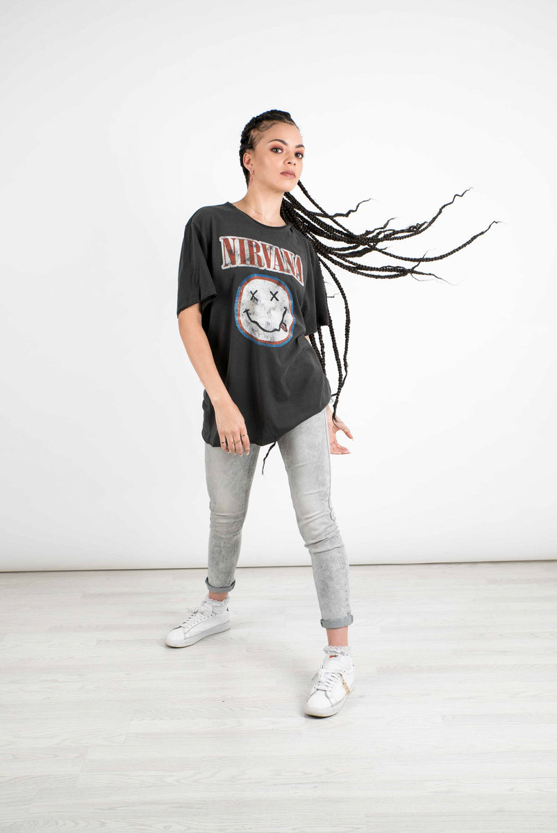 UNISEX AMPLIFIED NIRVANA IN UTERO COLOUR CHARCOAL T-SHIRT