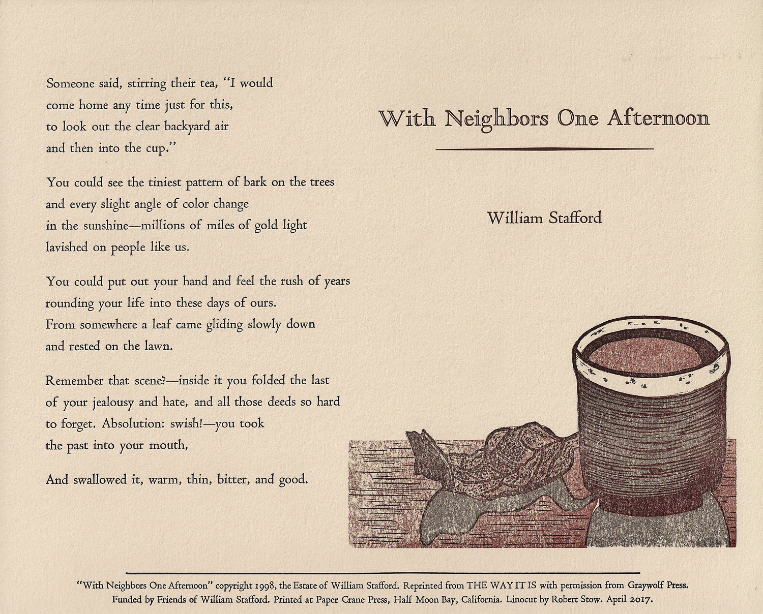 With Neighbors One Afternoon — Friends of William Stafford