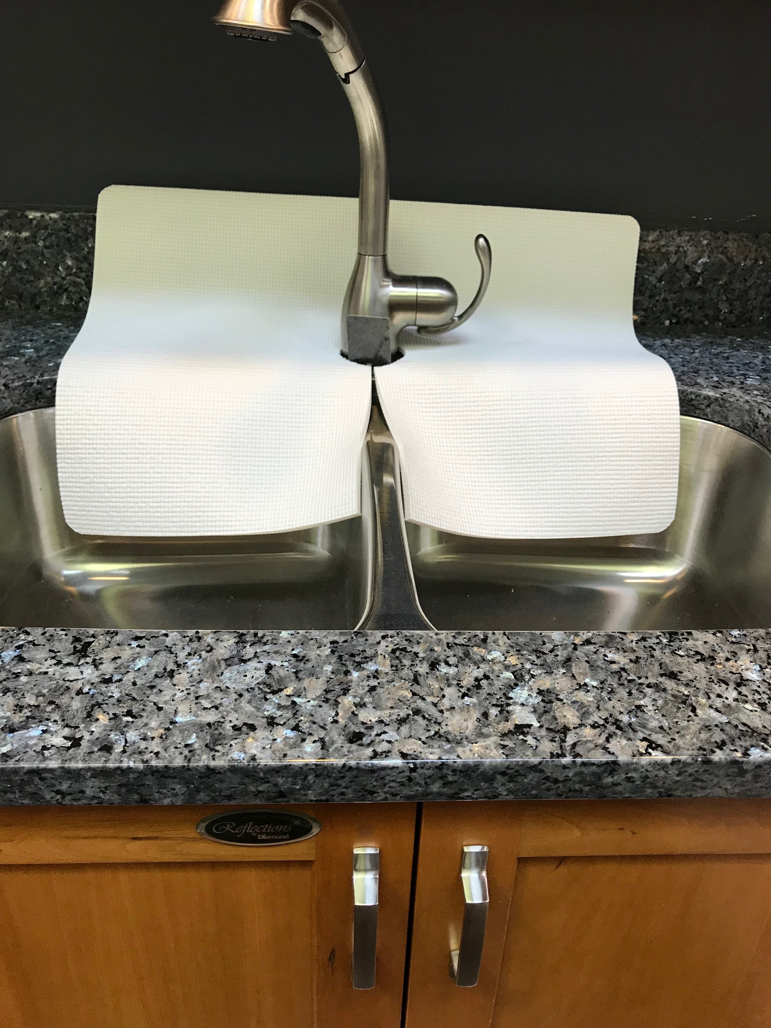 White Kitchen Sink Faucet Splash Guard, guards faucet area from water  damage, 17 in width x 23 in length, TM(4), copyright 2019, patent pending —  ...