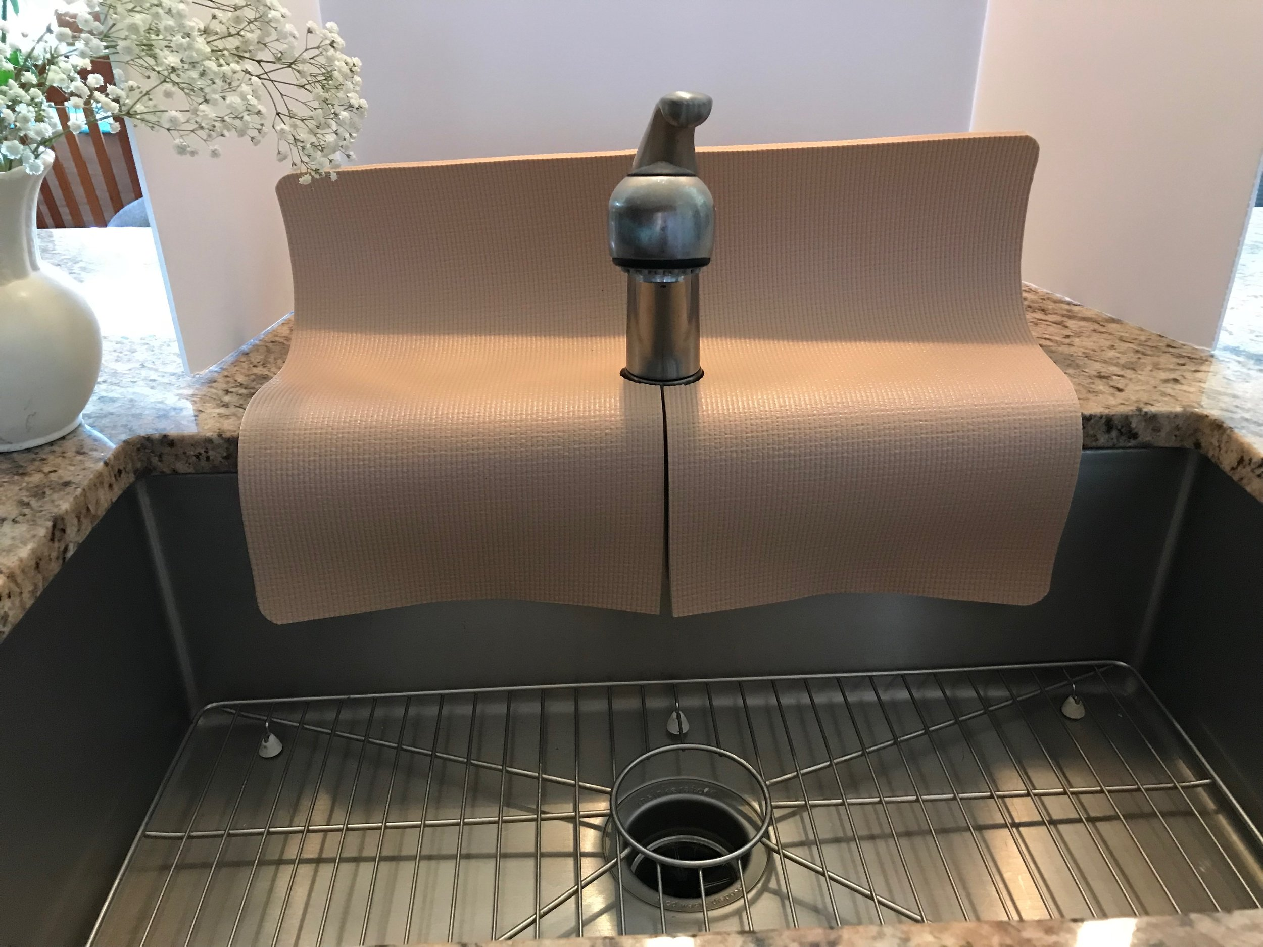Beige Kitchen Sink Faucet Splash Guard, protect area from water damage and  water splashes, 17 in width x 23 in length, TM(4), copyright 2019, patent  ...