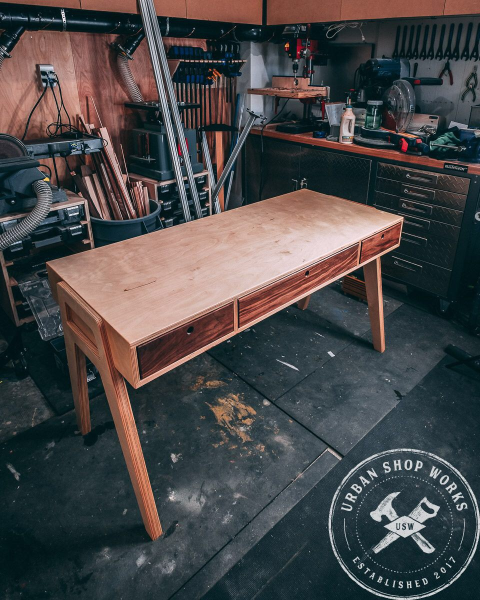 Mid Century Modern Plywood Desk Plans Metric Urban Shop Works