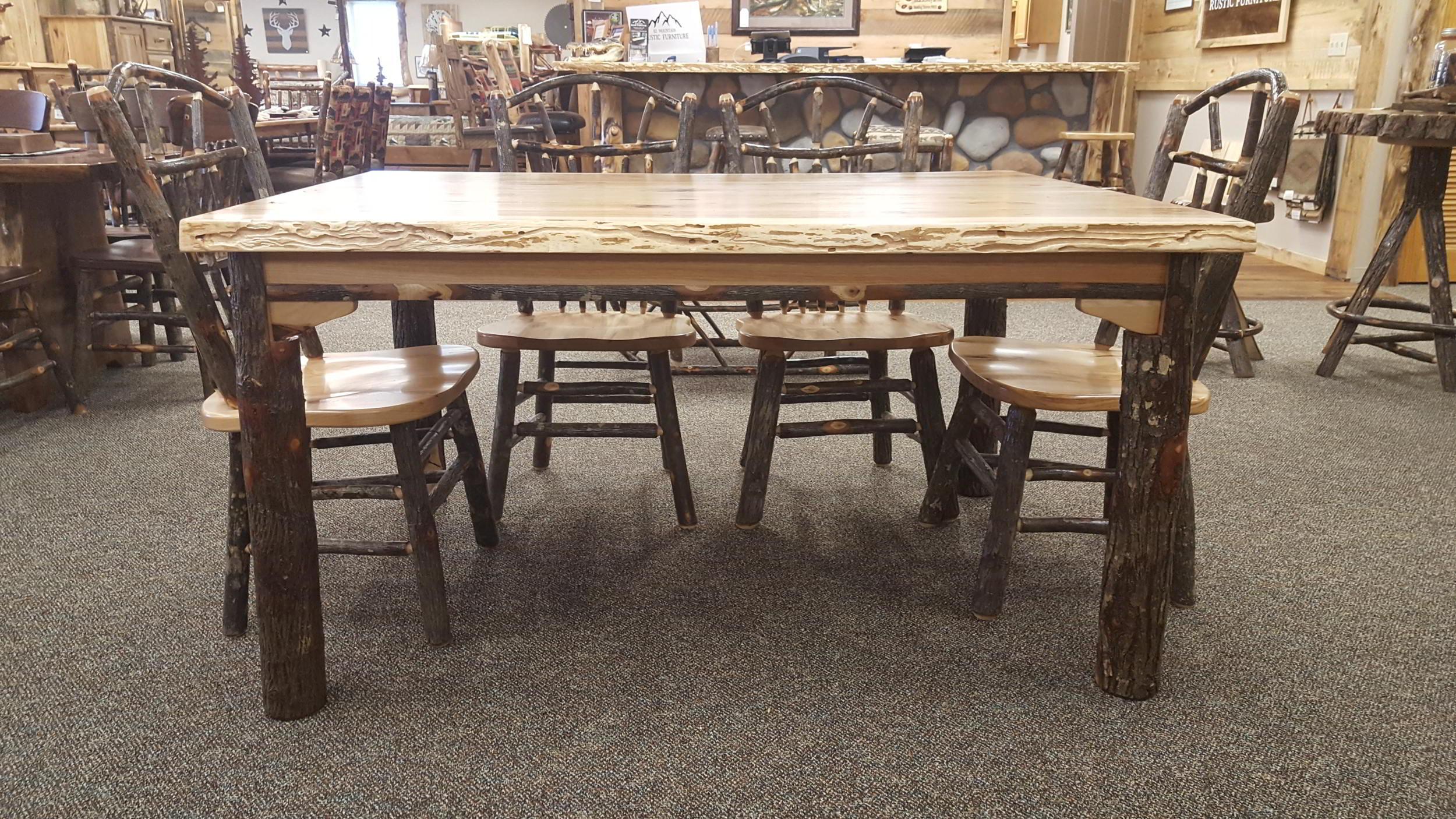 Hickory Live Edge Table Ez Mountain Rustic Furniture
