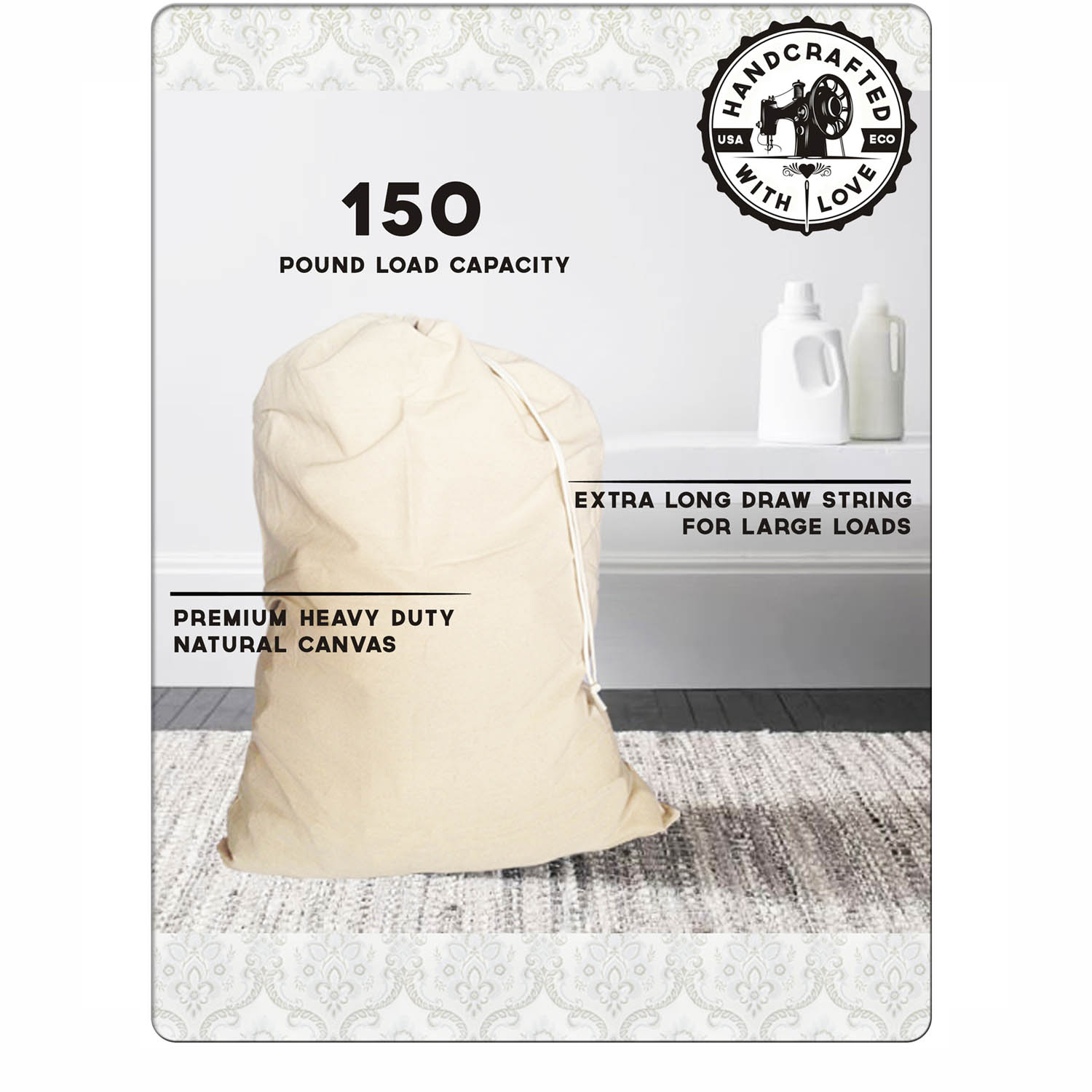 b4da9843f24c Laundry Bag Made in America. Heavy Duty and Oversized. Holds up to 150  Pounds of Laundry and Bedding. Fits All Hampers. Proudly Made in Cali! — ...