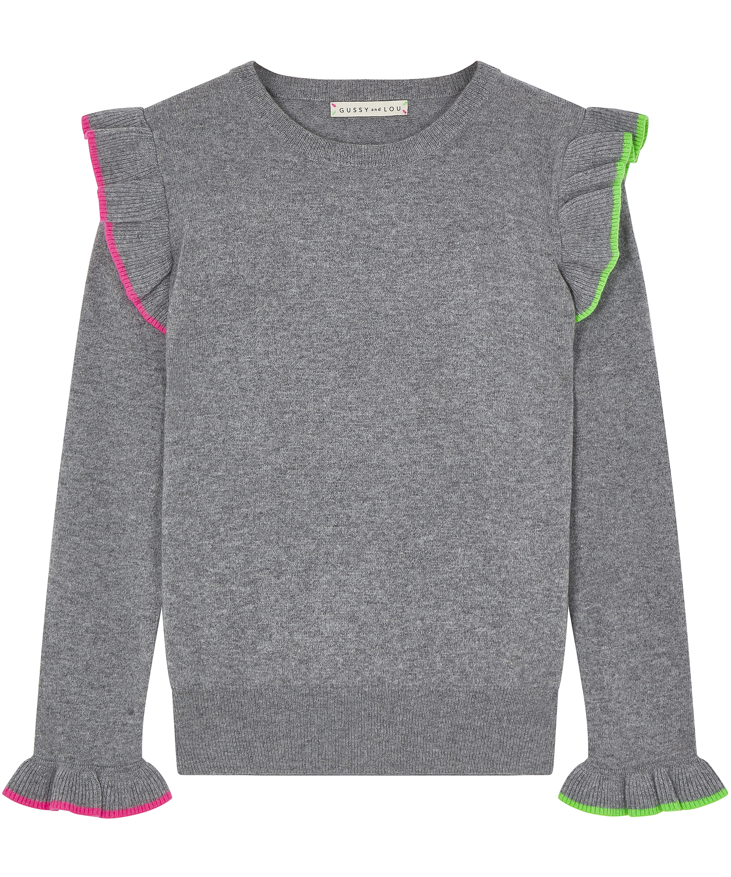 Ladies Grey Ruffle Cashmere Jumper — Gussy and Lou
