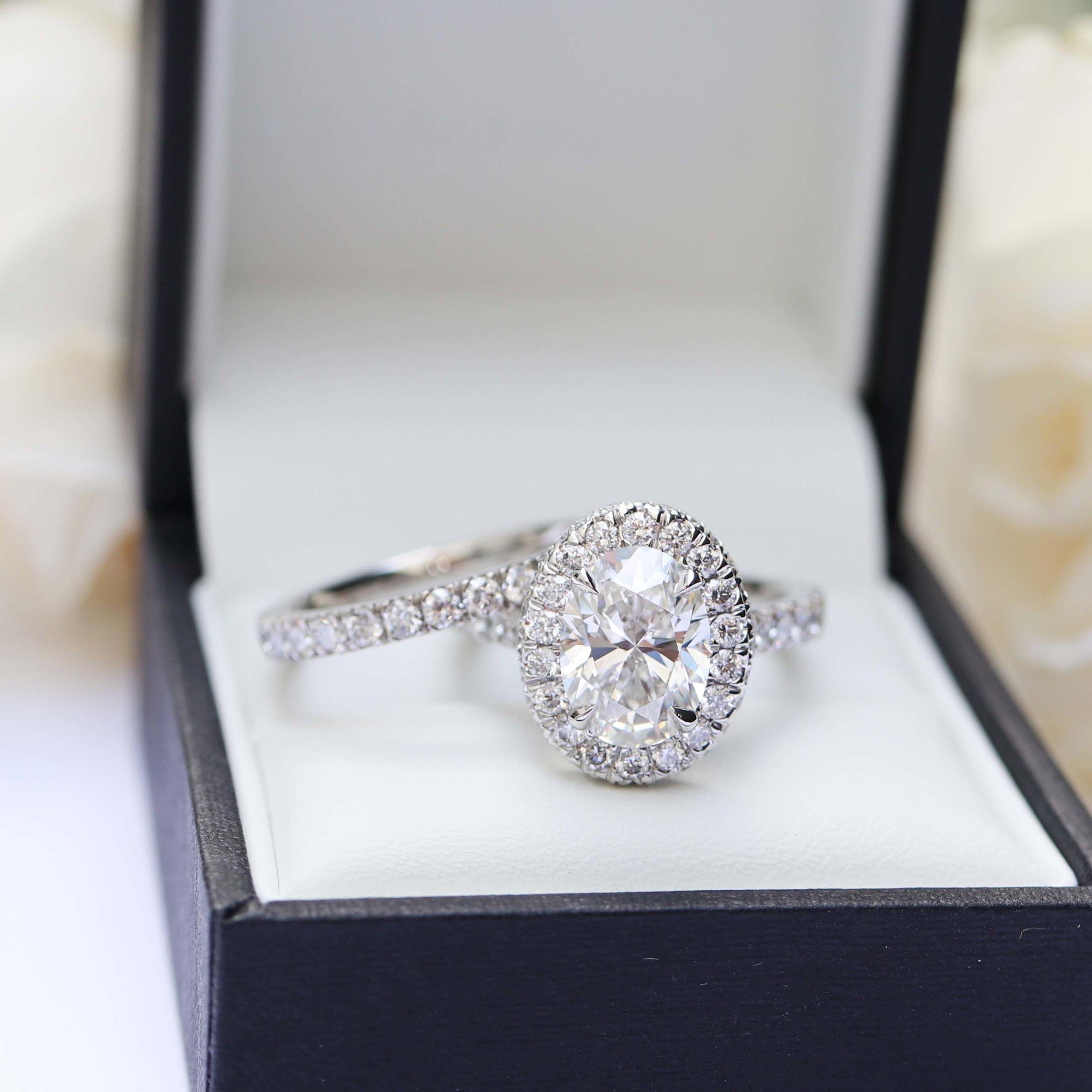 Double Sided Halo Setting Custom Lab Diamond Engagement Ring