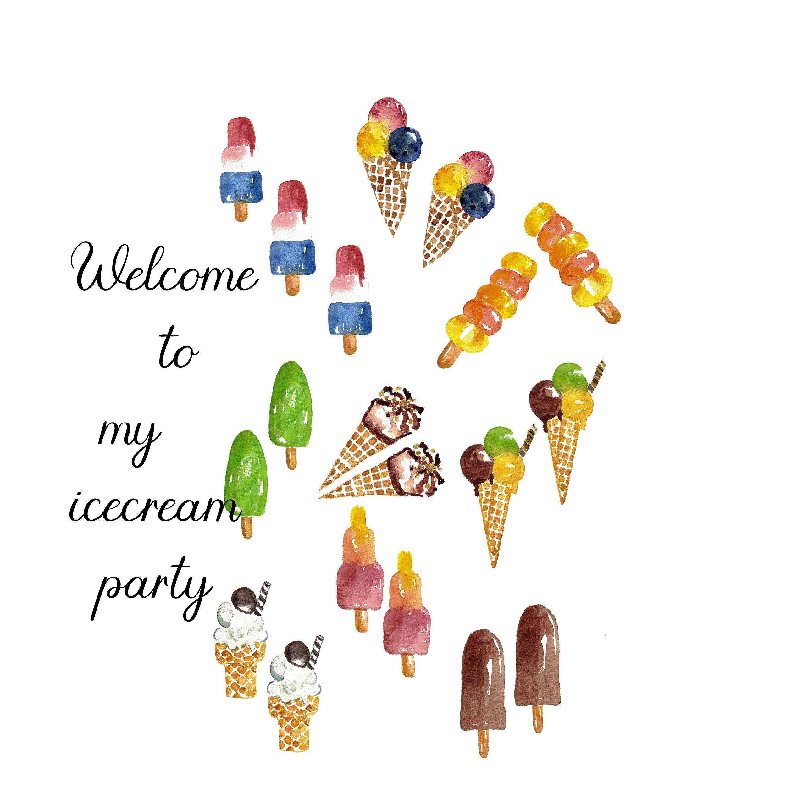 Icecream Birthday Card Template Anna Hedeklint Design Illustration