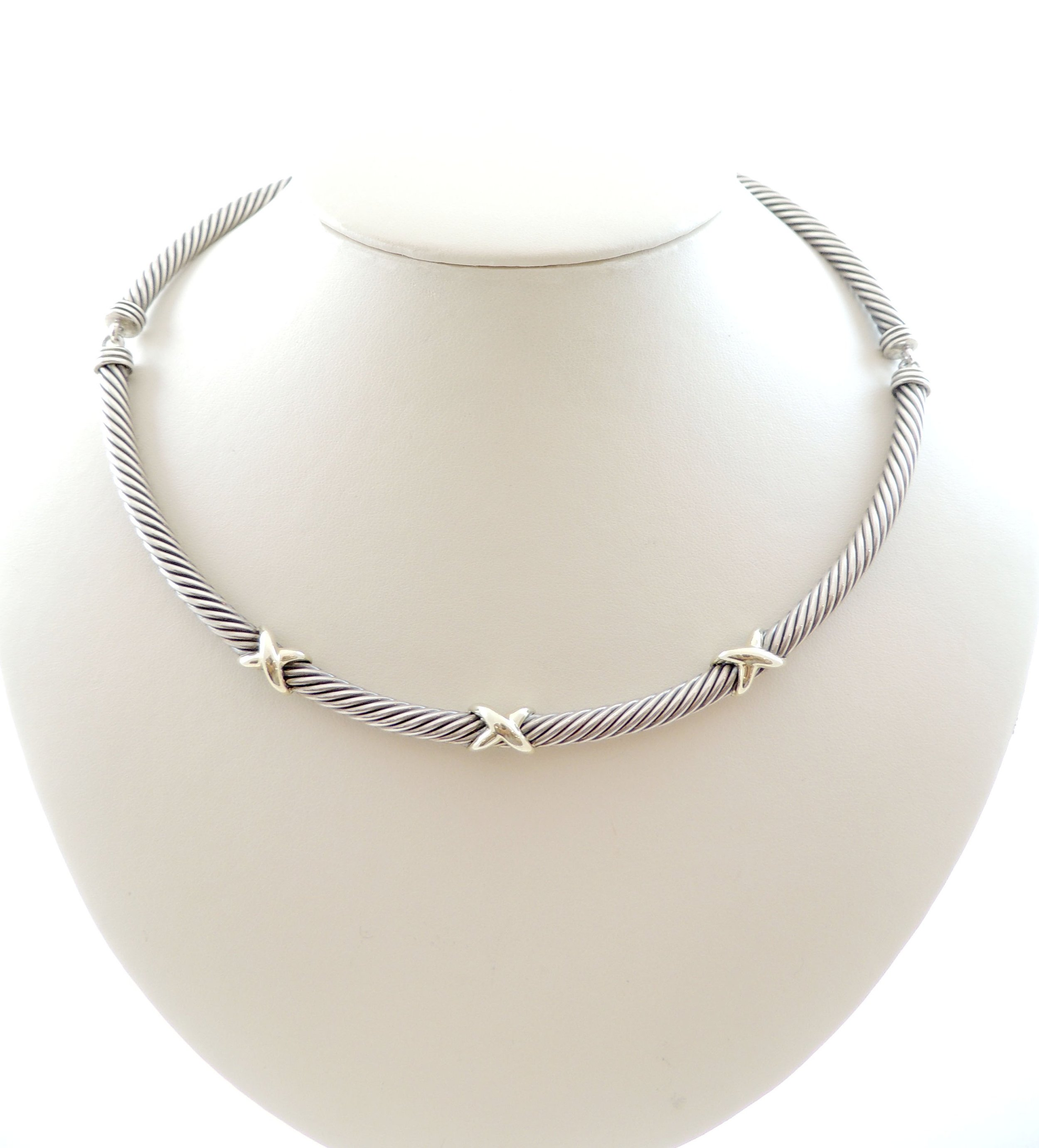 67e6d6f86bf3f David Yurman Sterling Silver 14k Gold Twisted Cable Collar — Neece Jewelers  | Palm City, FL
