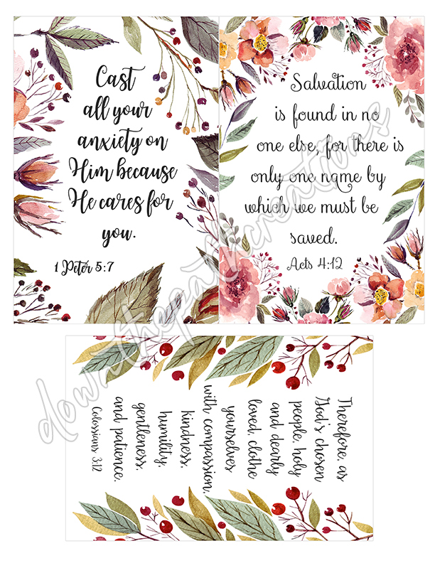 graphic relating to Printable Bible Verse Cards called Fastened of 9 Printable Bible Verse Playing cards, 4 x 6 inch Down the Course Creations