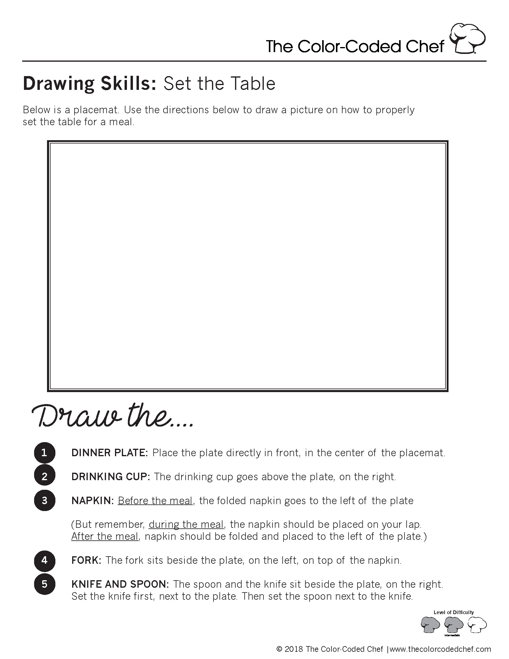 - Teacher Worksheet Packet — The Color-Coded Chef
