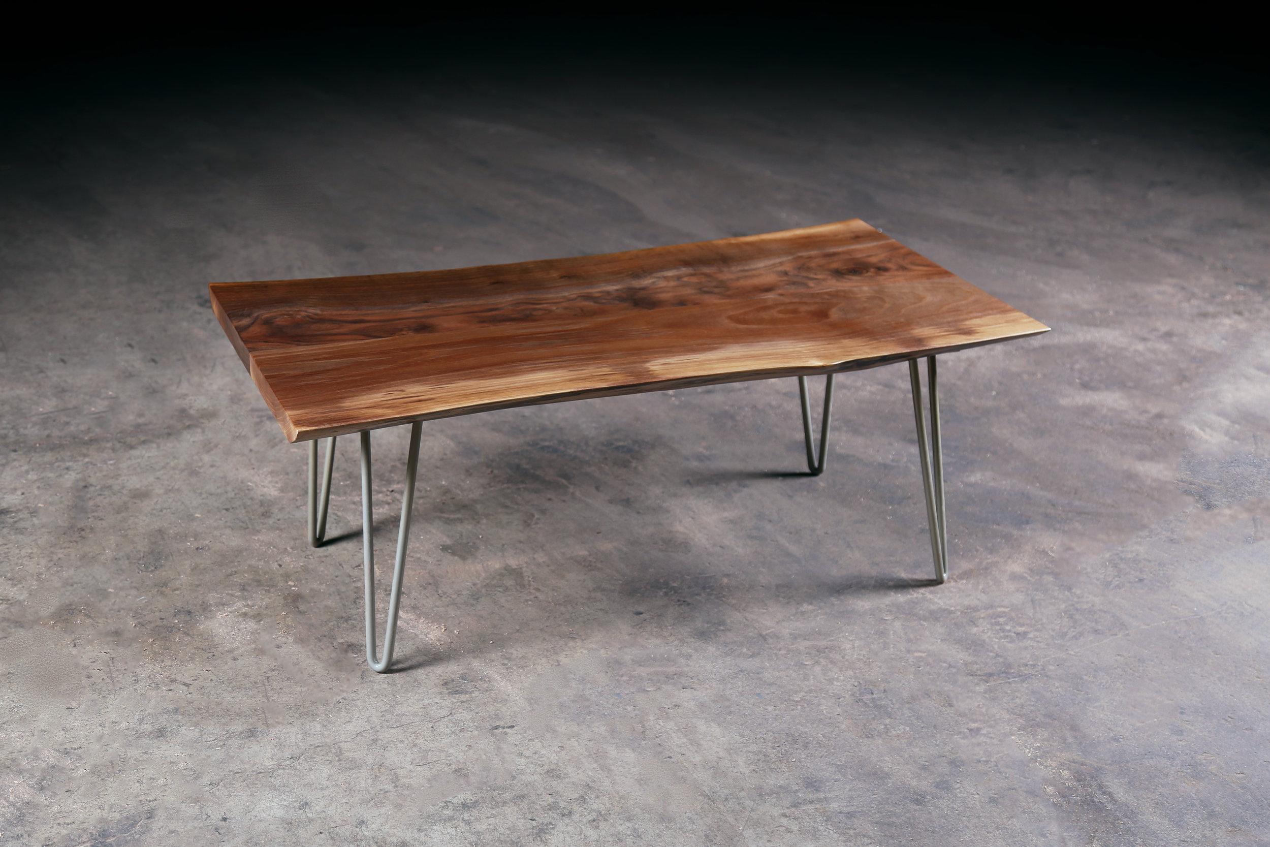 Live Edge Black Walnut Coffee Table W Hairpin Legs Urban Lumber Co