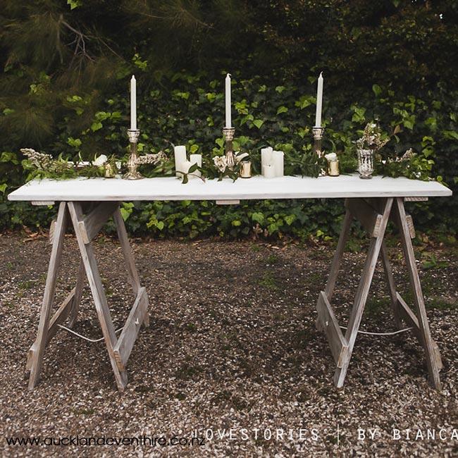 Large White Wash Trestle Table